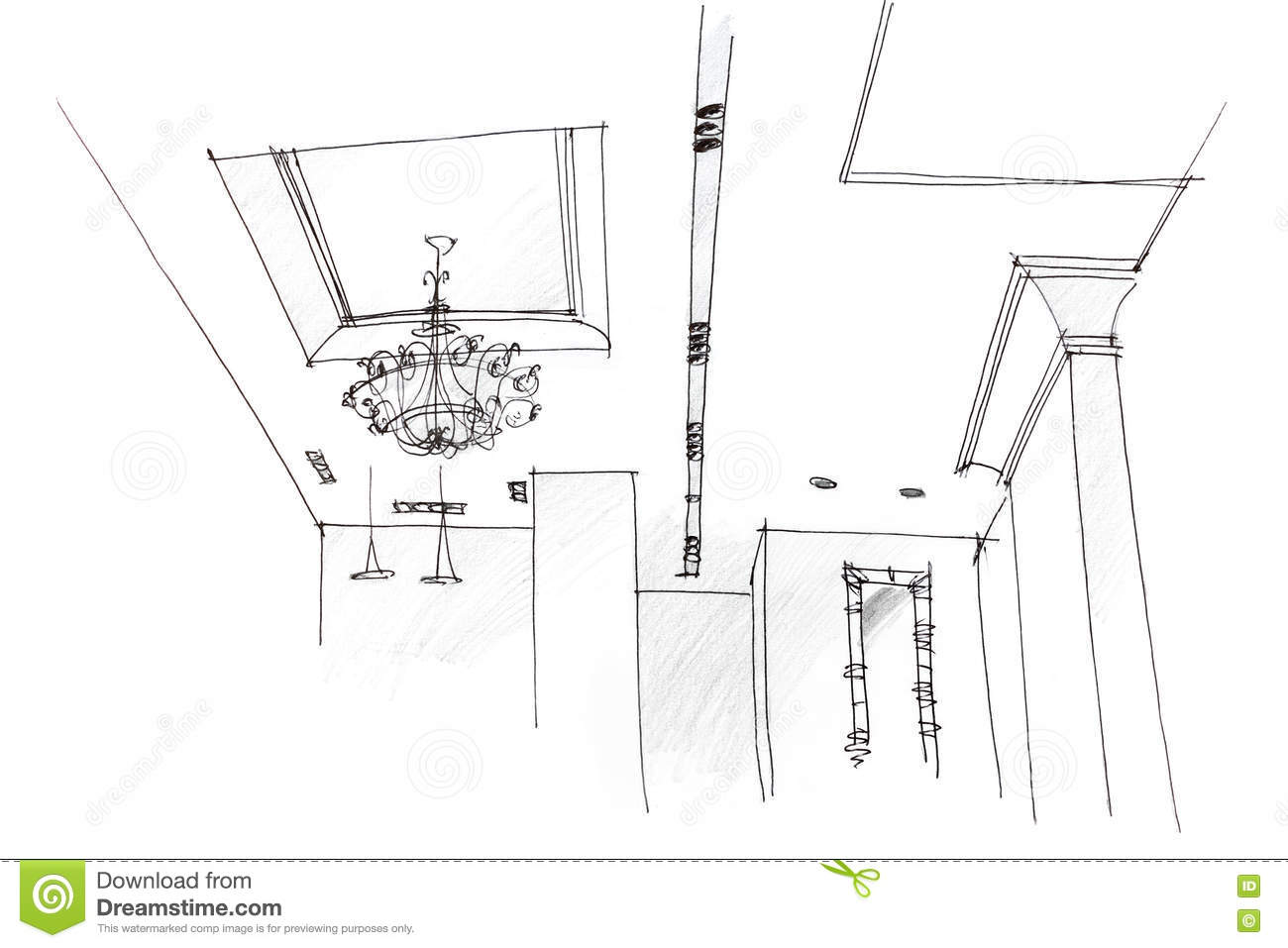 Architectural Freehand Drawing Of Ceiling Light Design At