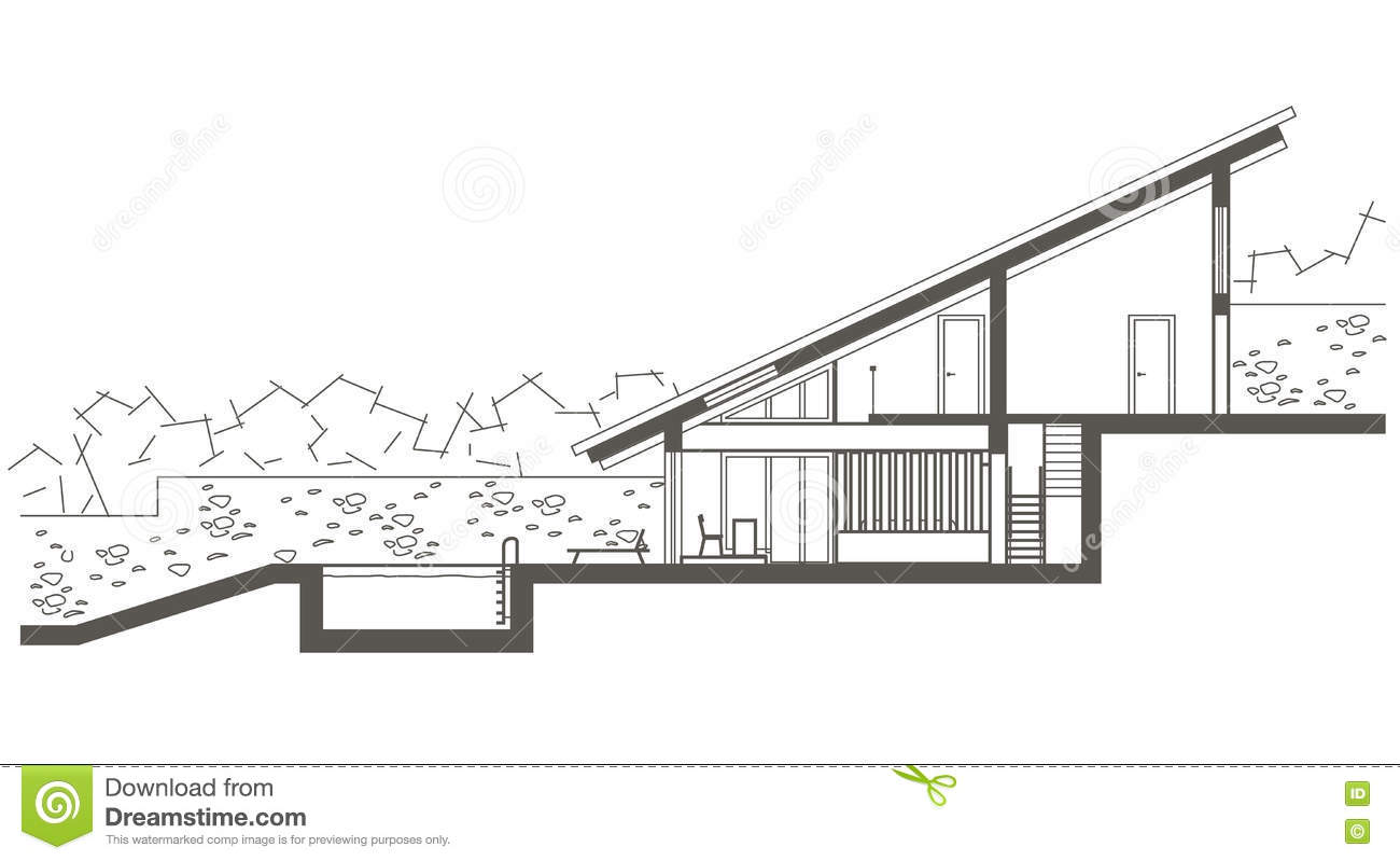 Architectural Sketch Two Level House With Swimming Pool