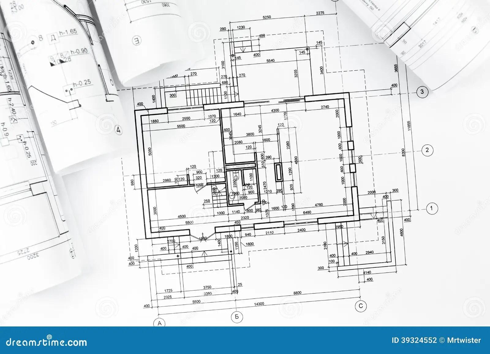 Architecturale Plantekeningen Stock Foto