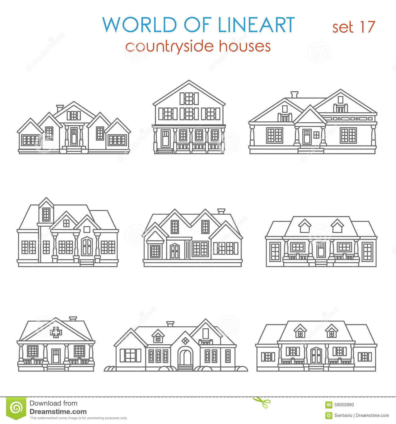 Architecture Countryside House Townhouse Graphical Lineart