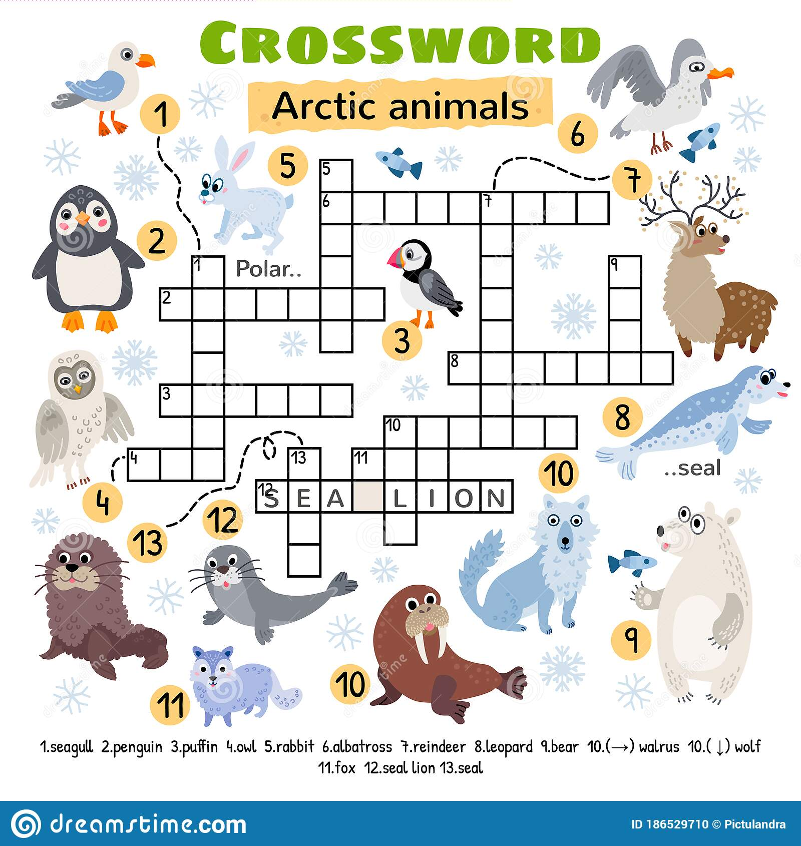 Arctic Animals Crossword Game For Preschool Kids Stock