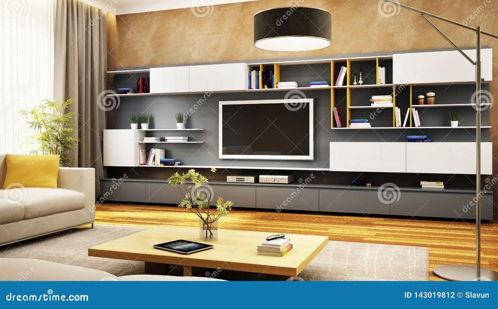 https fr dreamstime com armoire moderne tv salon luxe image143019812