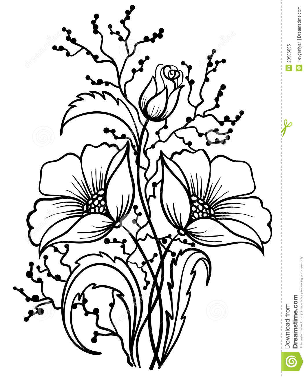 Arrangement Of Flowers Black And White Outline Drawing
