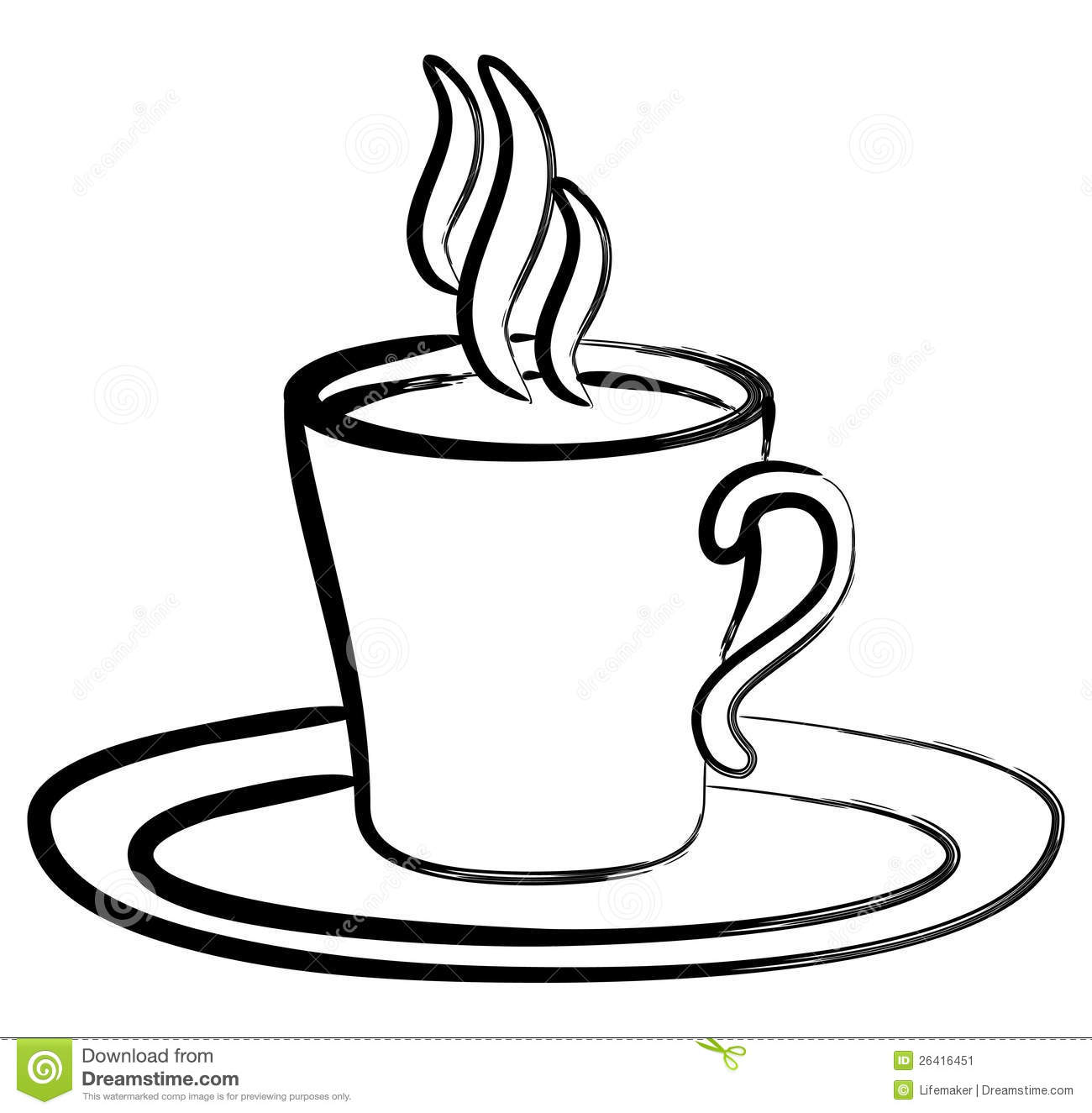 Art Black White Coffee In Cup Stock Vector