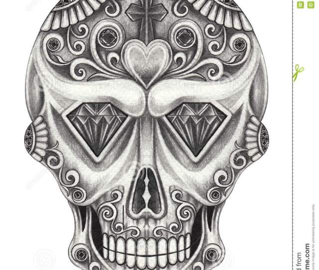 Art Sugar Skull Day Of The Dead Hand Pencil Drawing On Paper