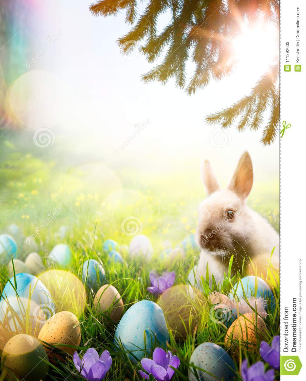 Art Easter Background  Spring Flowers Easter Bunny And Easter E     Download Art Easter Background  Spring Flowers Easter Bunny And Easter E  Stock Image   Image