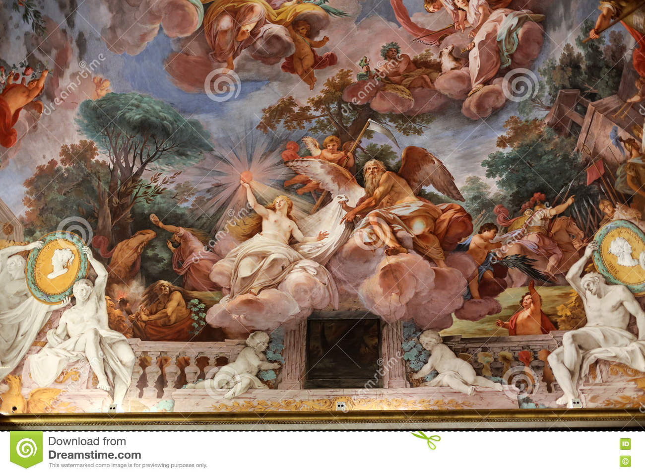 Art Painting Of Ceiling In Central Hall Of Villa Borghese