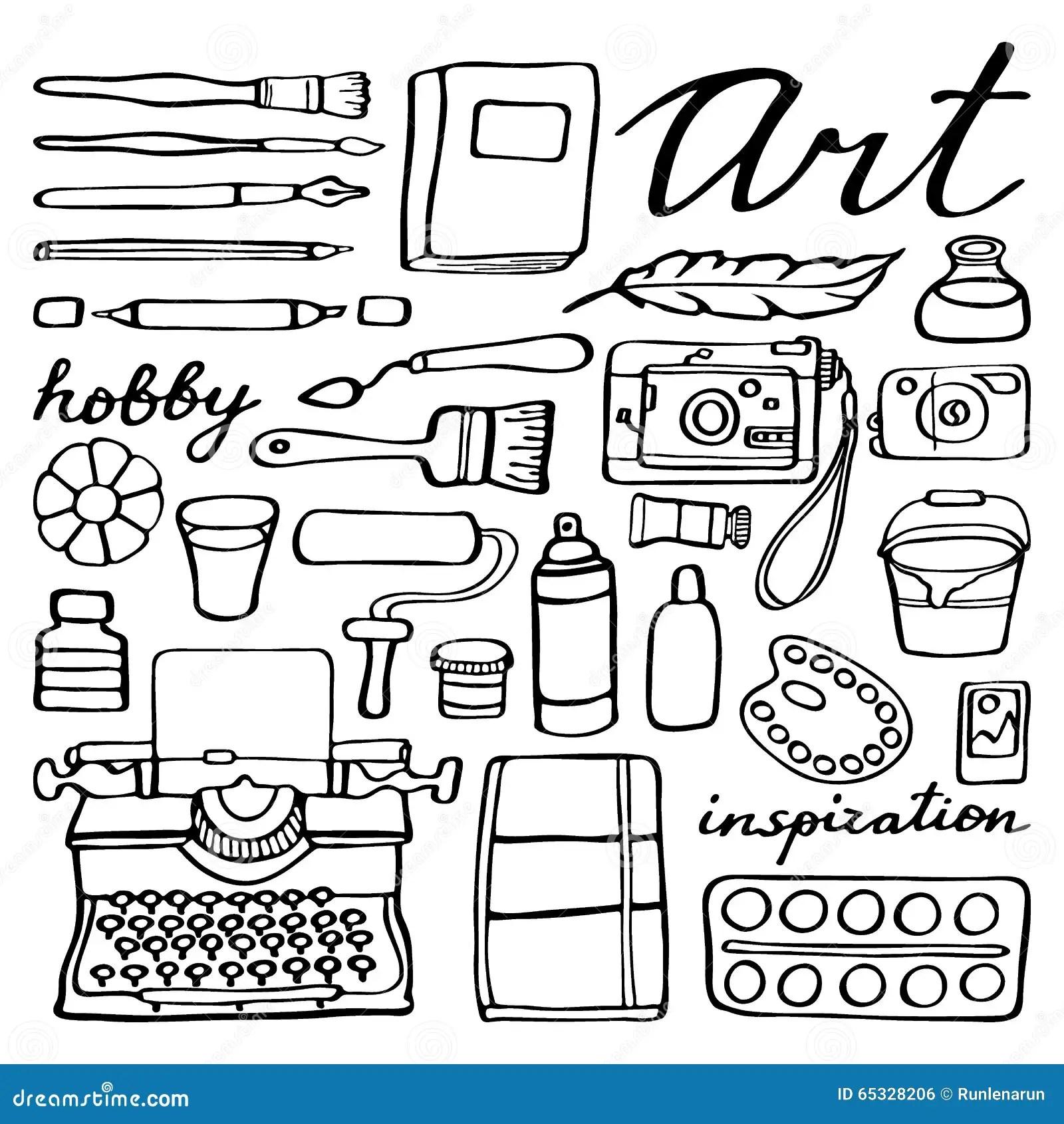 Art Supplies Set Hand Drawn Cartoon Collection Of Stock
