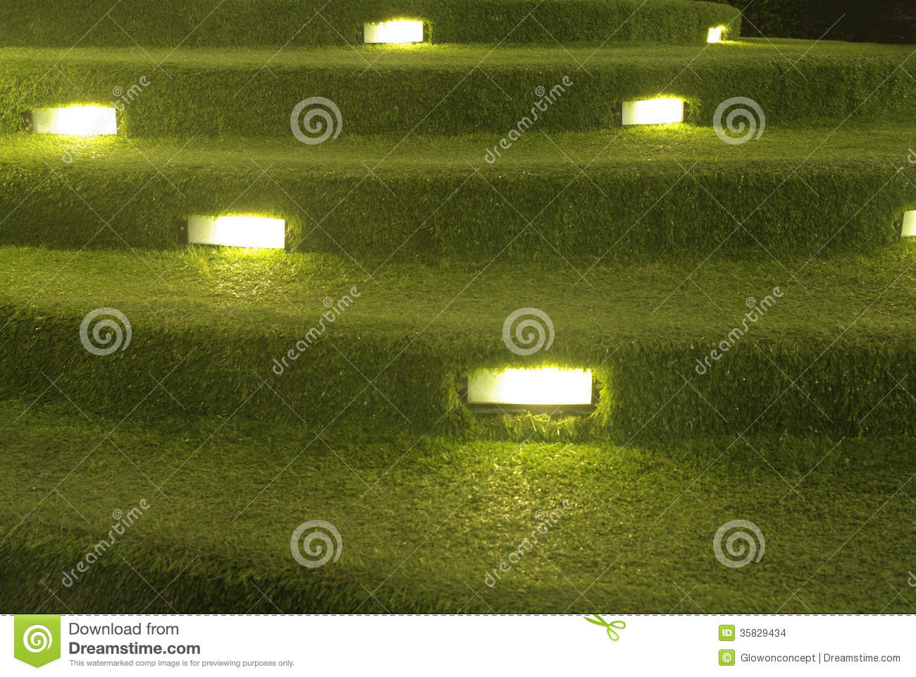 Artificial Grass Stair Decoration With Lighting Stock