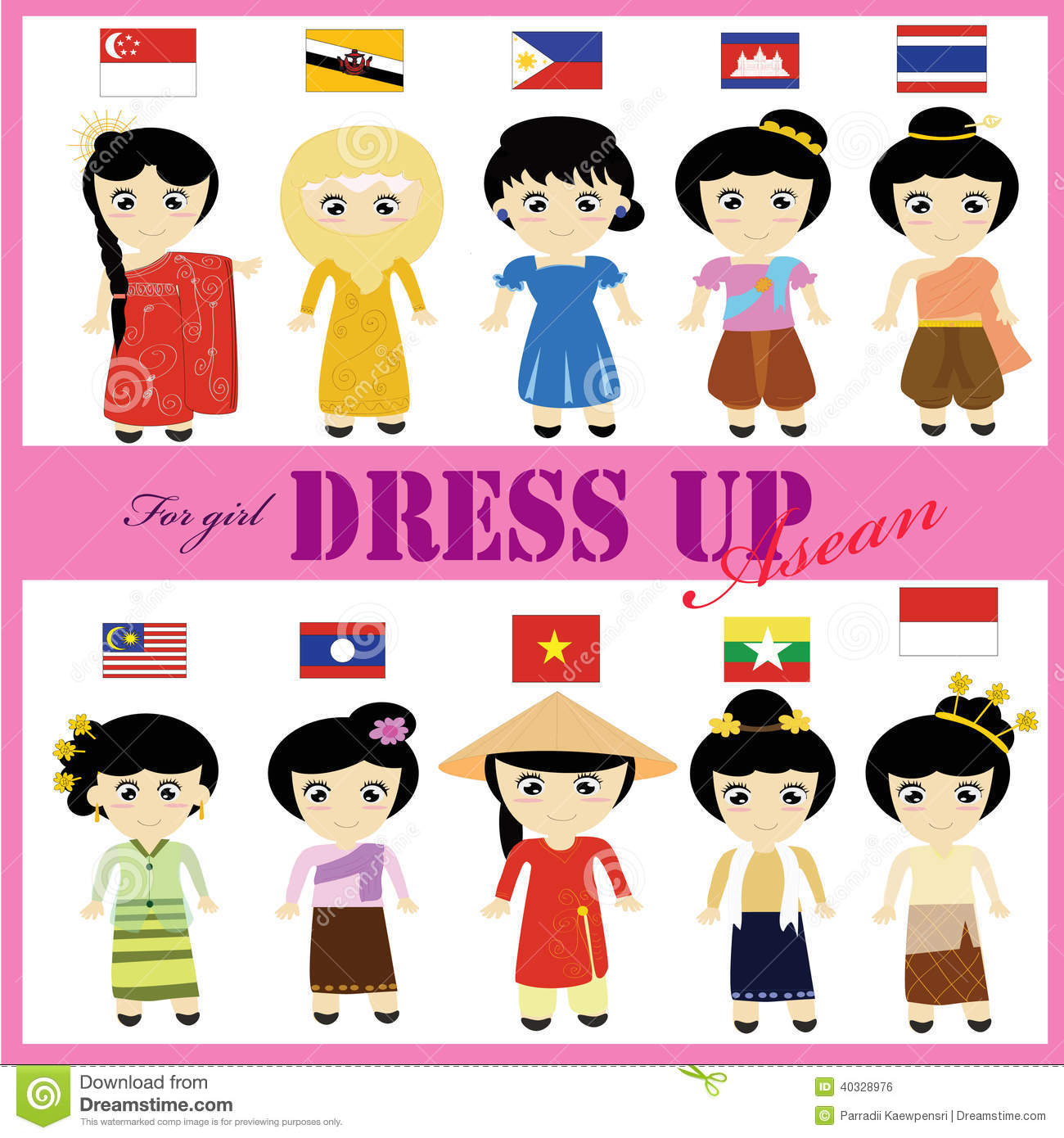 Asean Traditional Dress For Girl Aec Stock Photo
