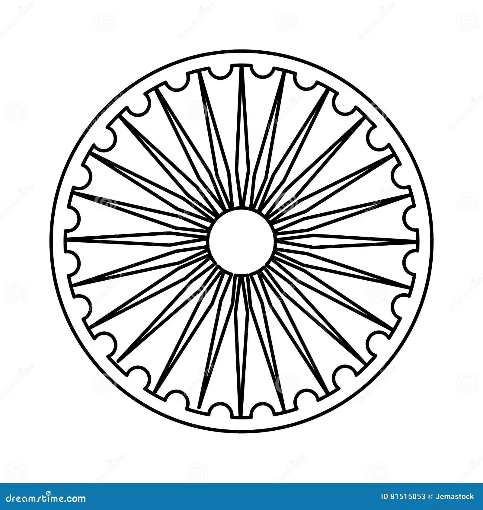 Ashoka Chakra Symbol Stock Vector Illustration Of