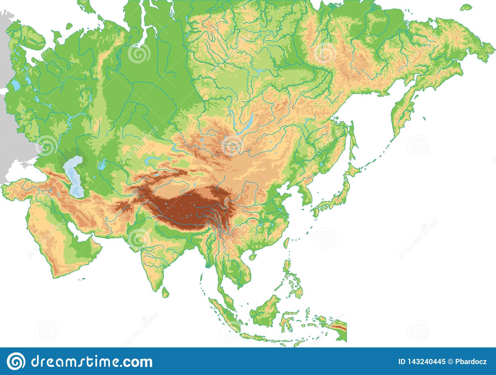 High Detailed Asia Physical Map Stock Vector