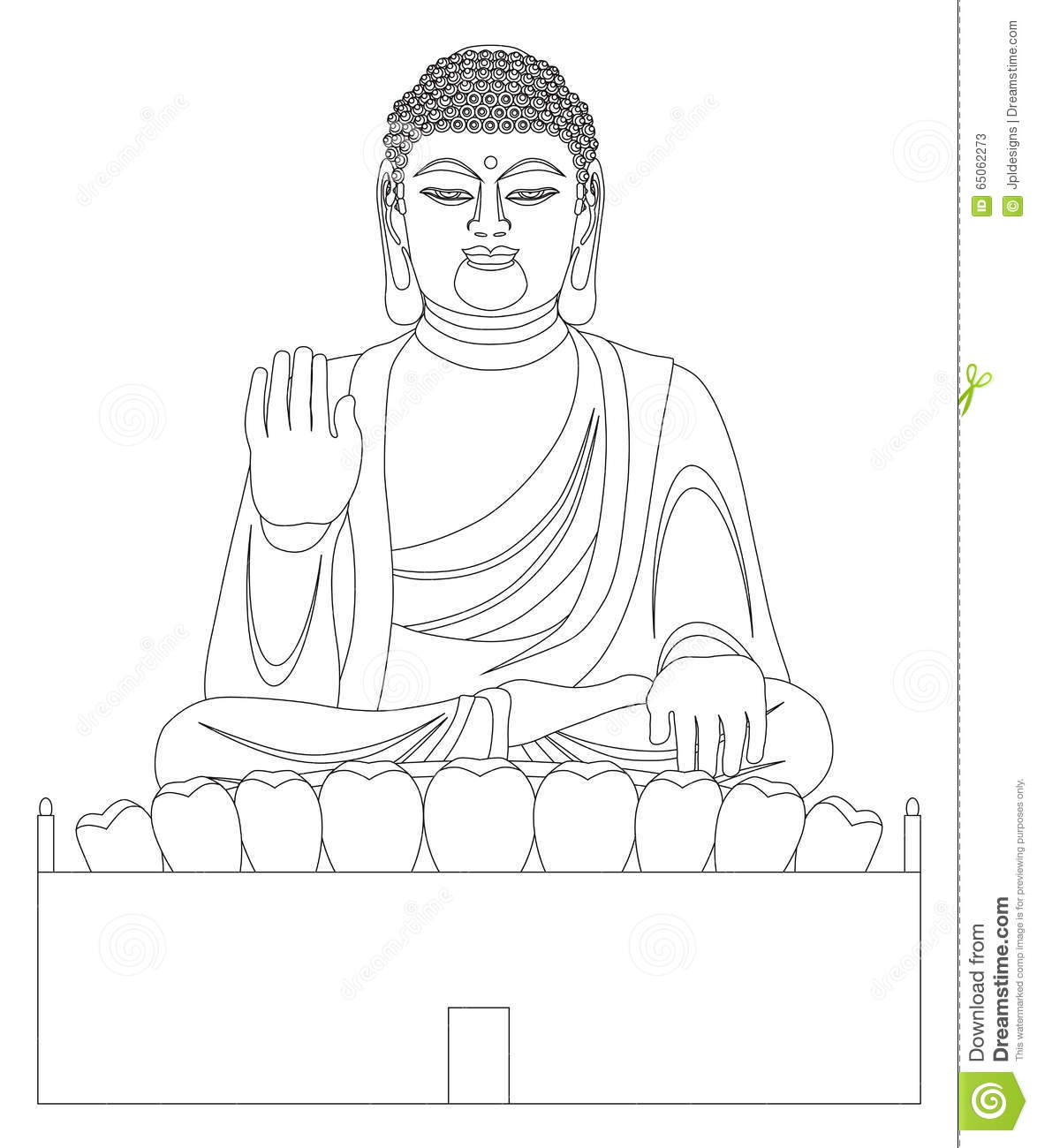 Asian Big Buddha Black And White Line Art Stock Vector