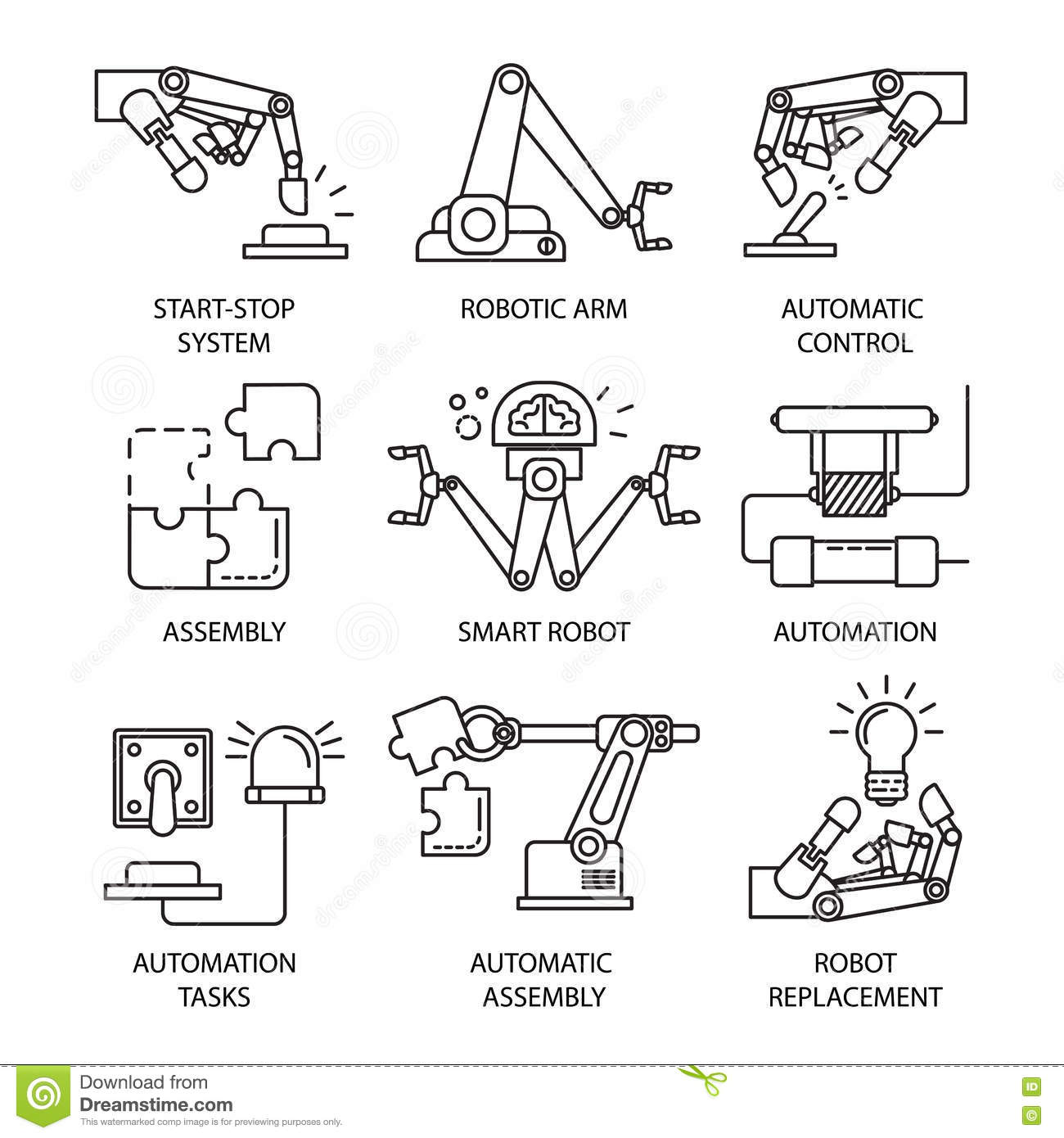 Assembly Line Icon Set Stock Vector Illustration Of