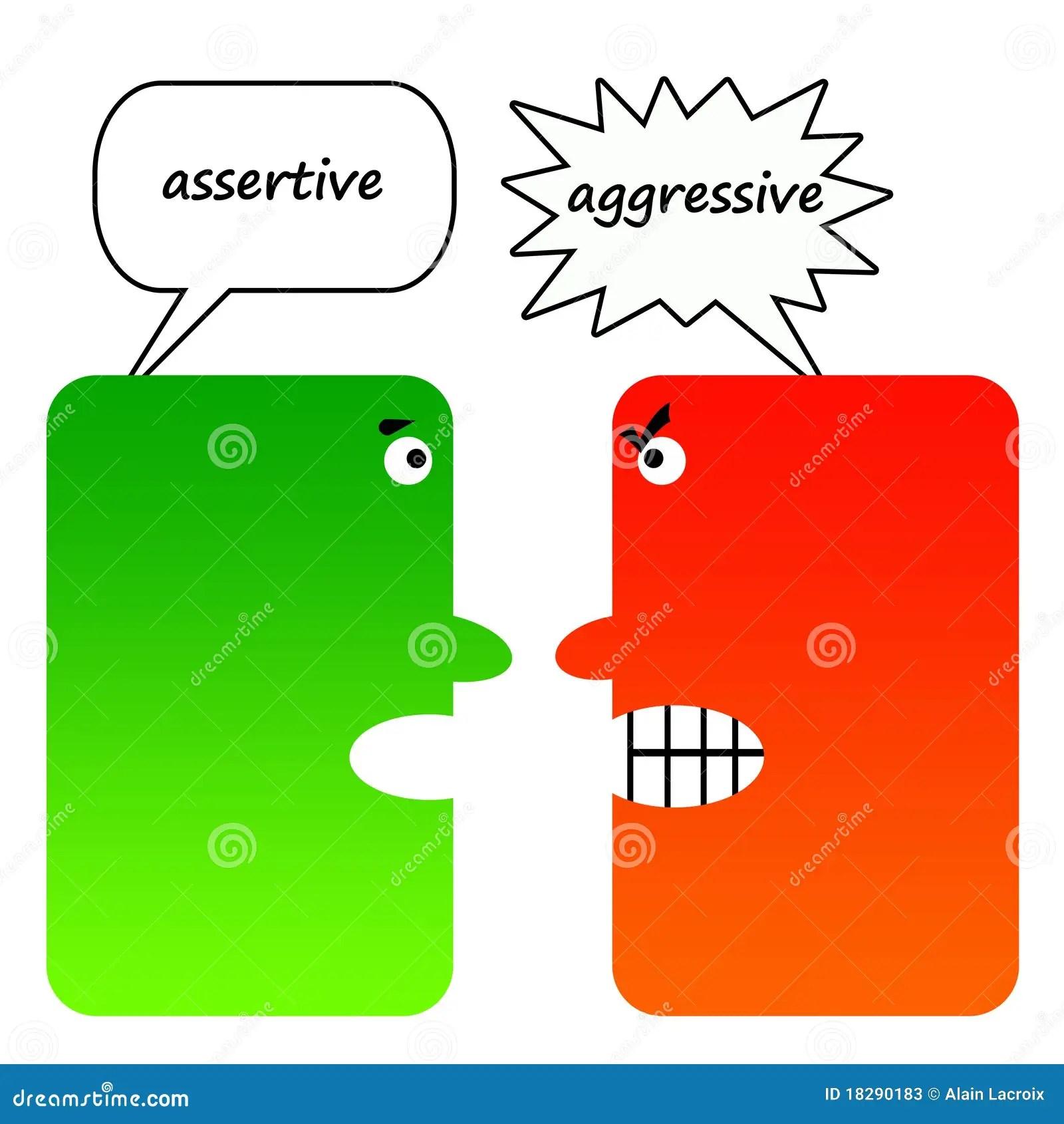 Assertivo Contra Agressivo Ilustracao Stock Ilustracao De