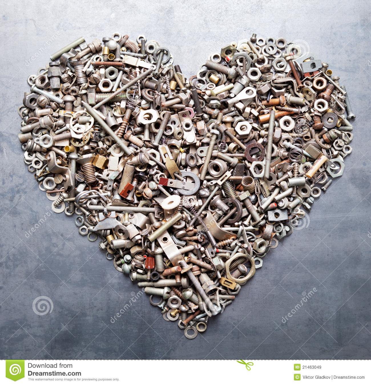 Assorted Nuts And Bolts Heart Royalty Free Stock Images