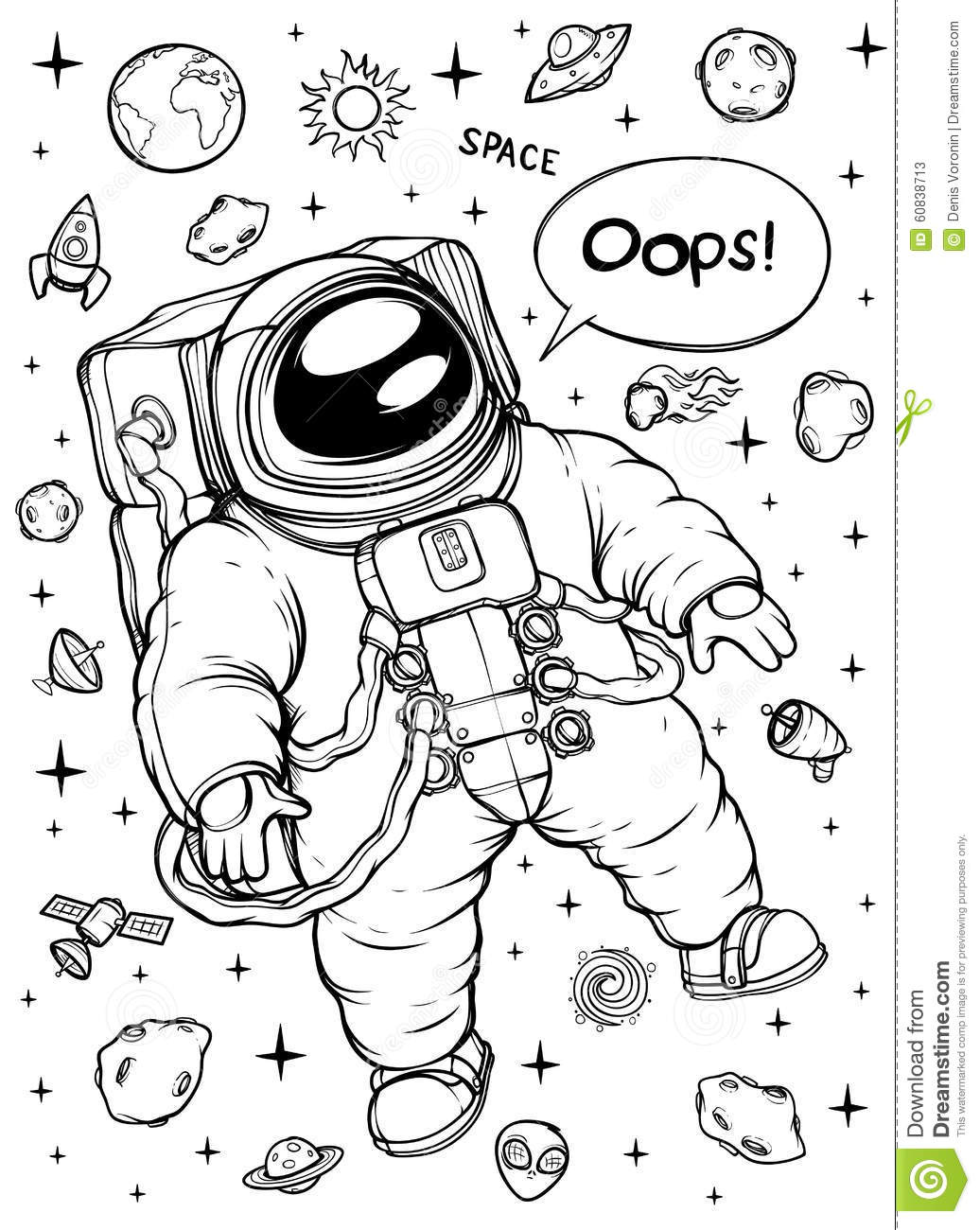 Astronaut Floating Black And White Stock Vector