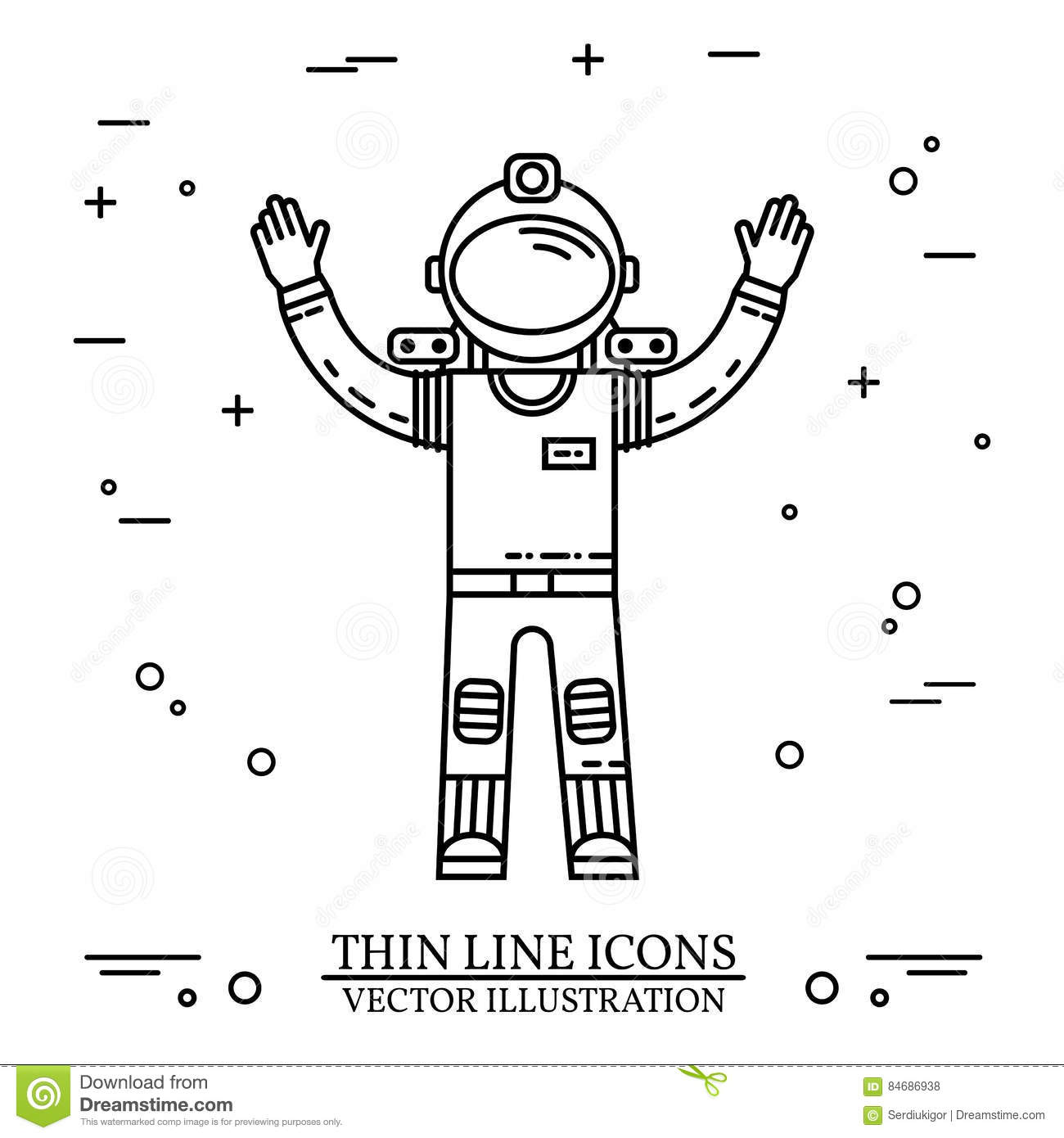 Astronaut In Space Human Mission To Mars Stock Vector