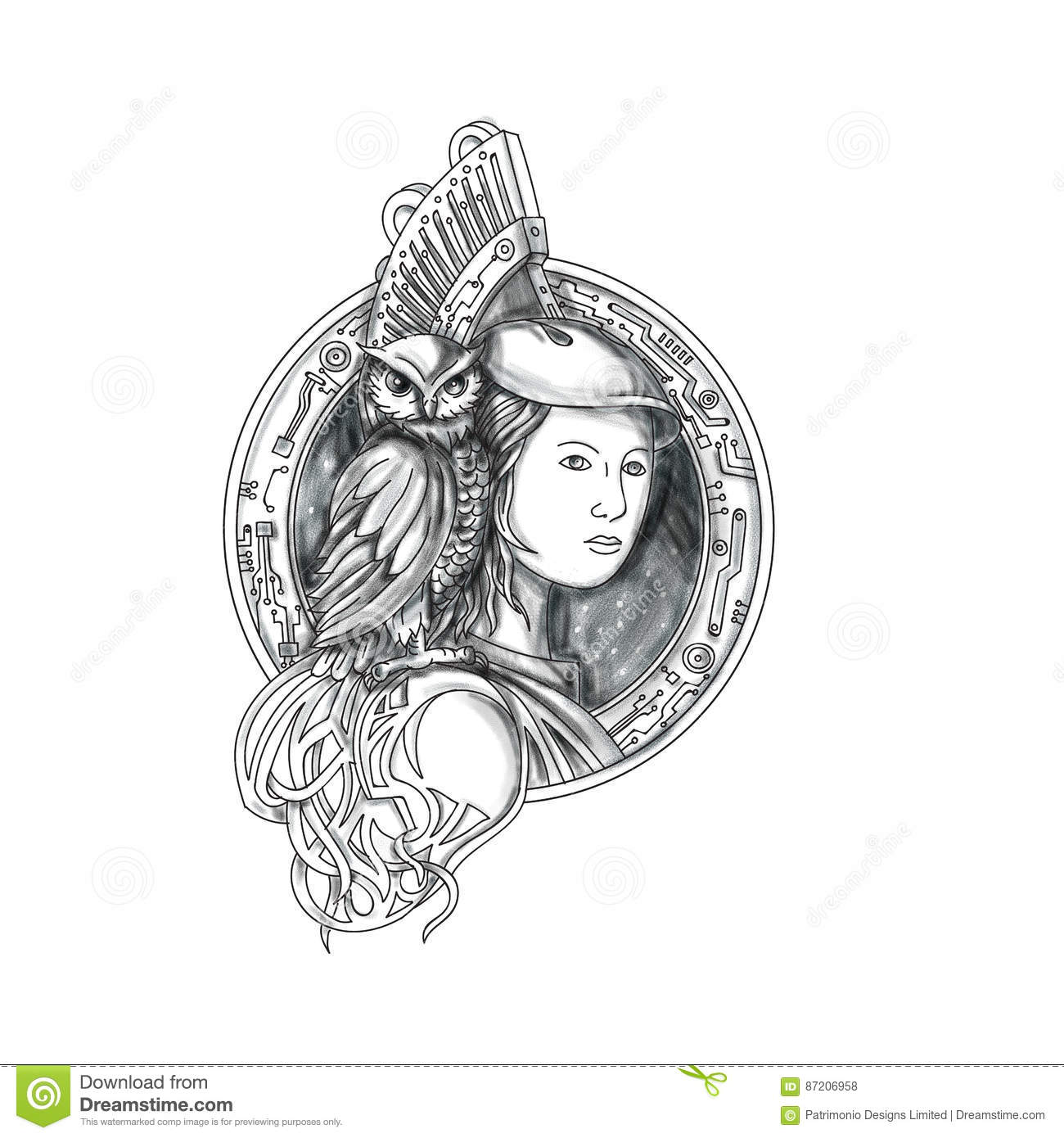 Athena With Owl On Shoulder Electronic Circuit Circle