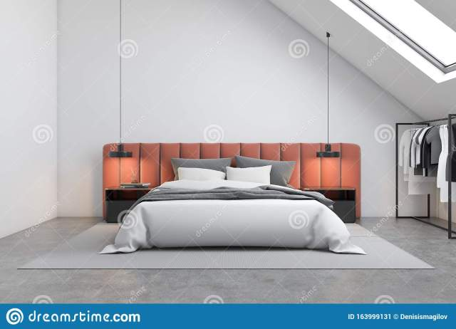 Attic Bedroom With Orange Bed And Clothes Stock Illustration Illustration Of Design Contemporary 163999131