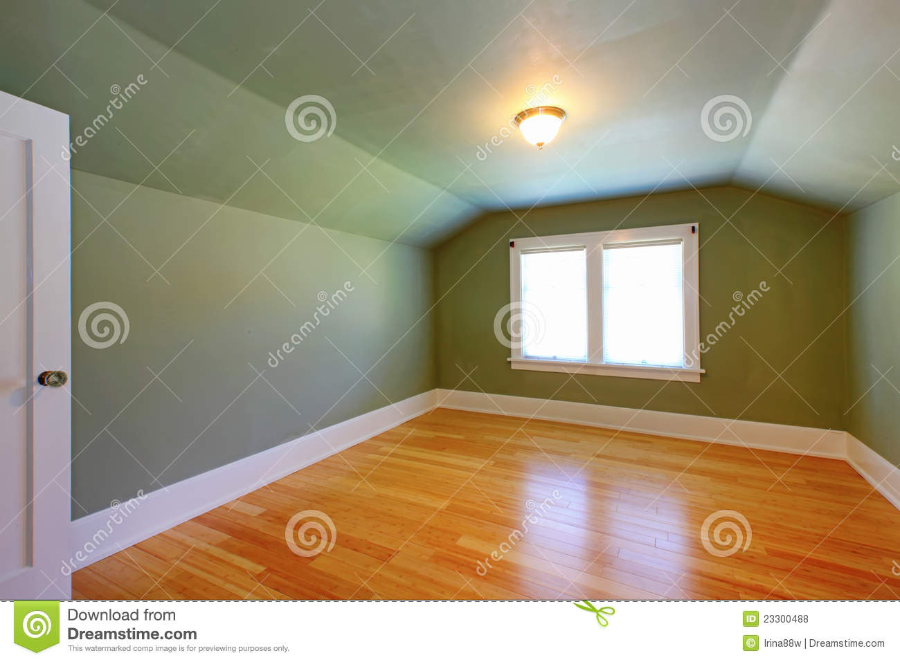 Attic Green Room With Low Ceiling Royalty Free Stock