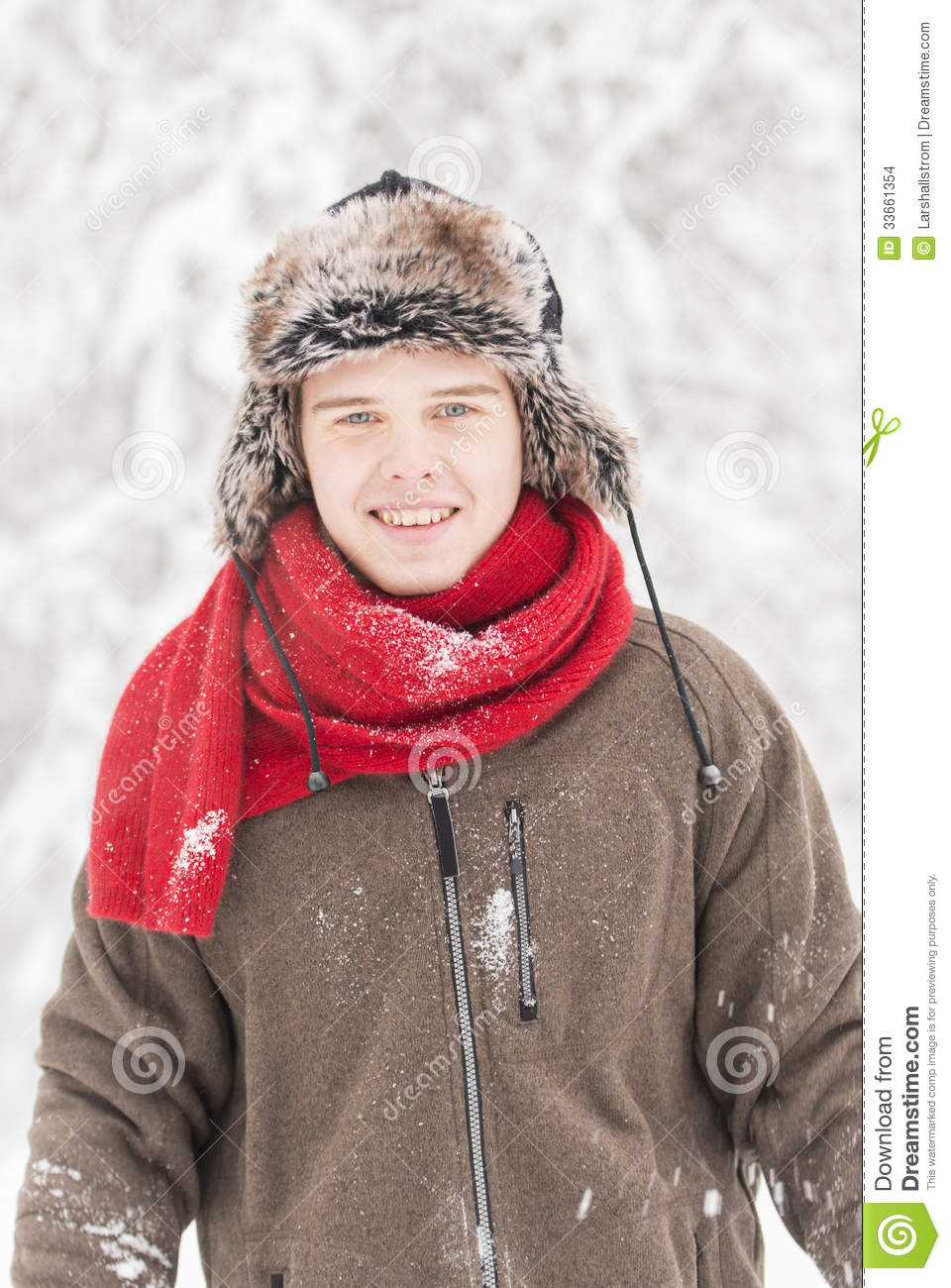Attractive Young Adult Man In Winter Clothes Stock Images