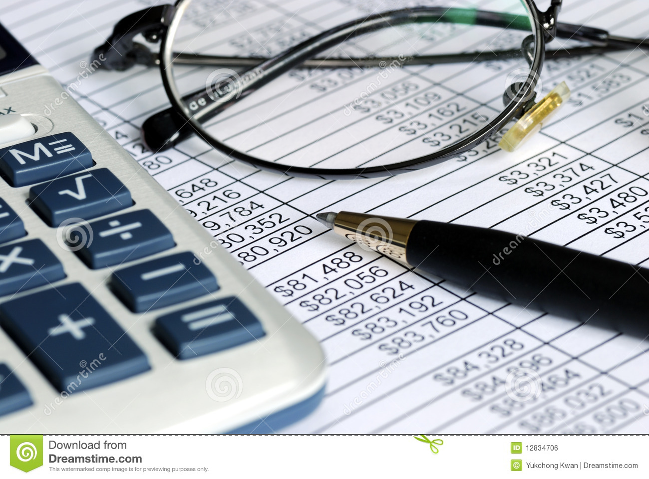 Audit The Numbers On The Spreadsheet Stock Photo