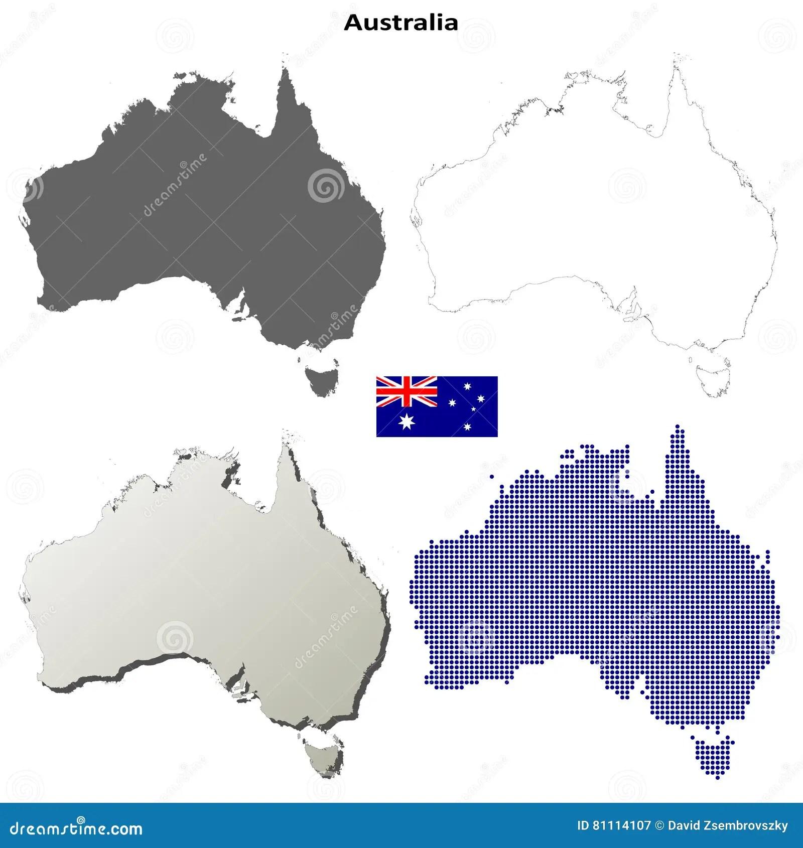 Australia Outline Map Set Stock Vector Illustration Of