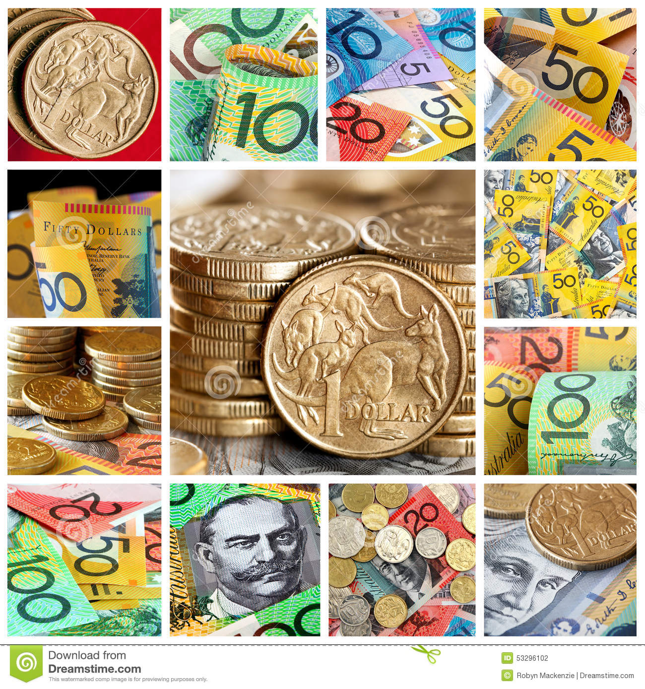 Australian Money Collection Stock Photo