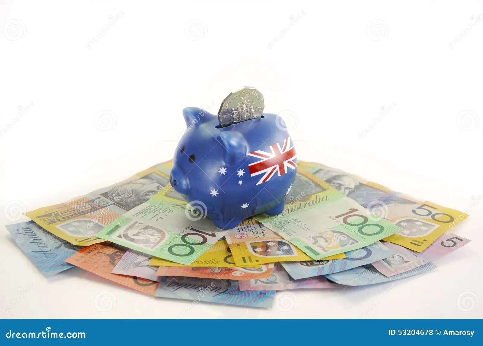 Australian Money With Piggy Bank Stock Photo
