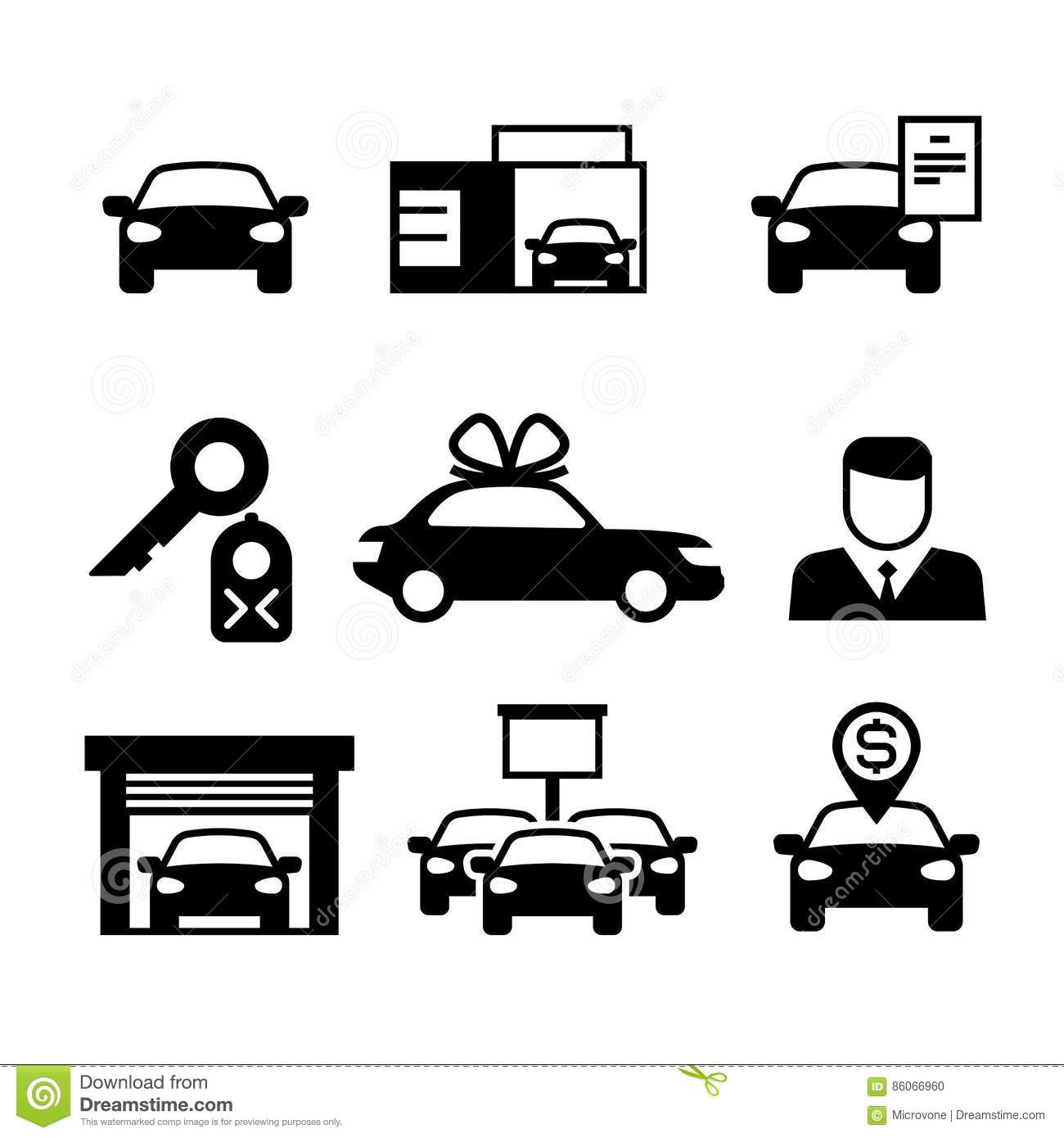 Auto Dealership Car Industry Selling Buying And Renting Vector Icons Vector Illustration