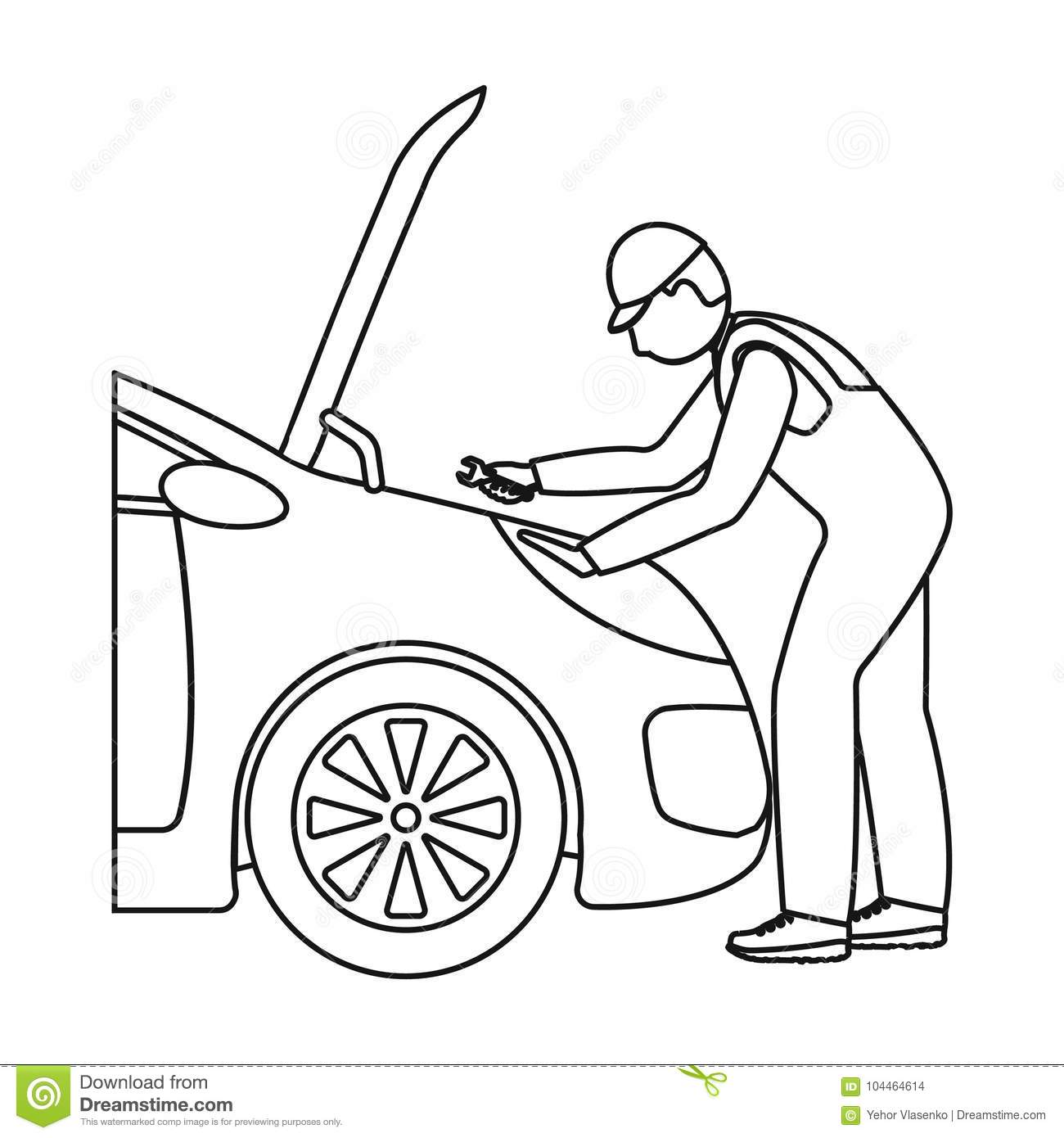 Auto Mechanic And Adjustment Single Icon In Outline Style