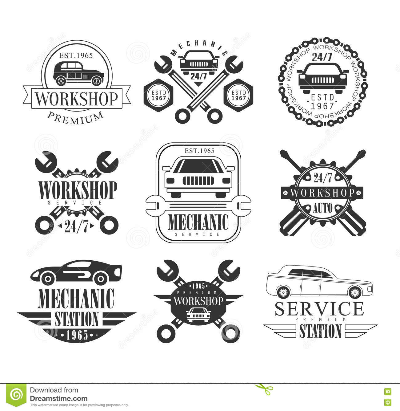 Auto Mechanic Black And White Emblems Stock Vector
