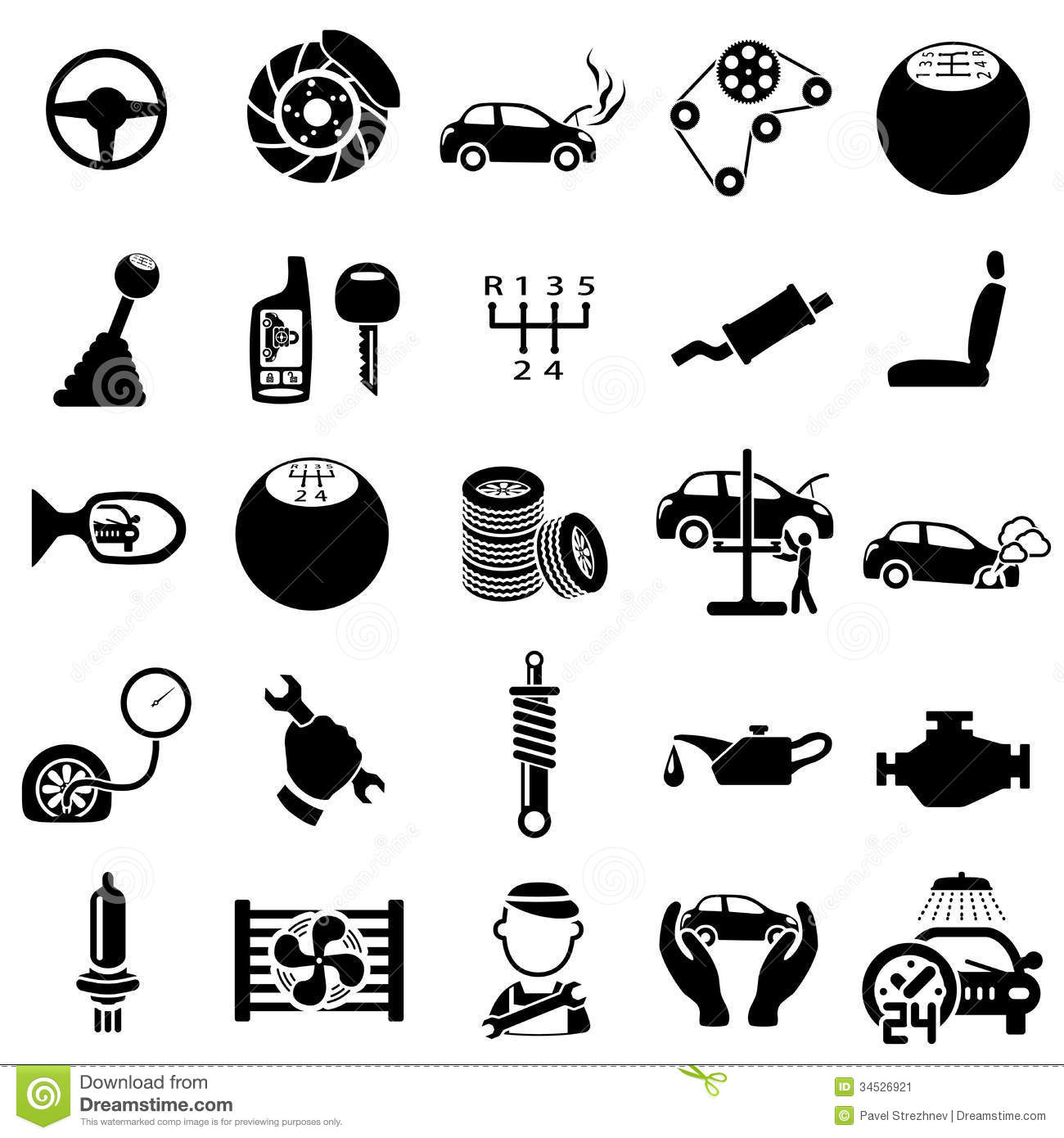 Auto Repair Icons Stock Image