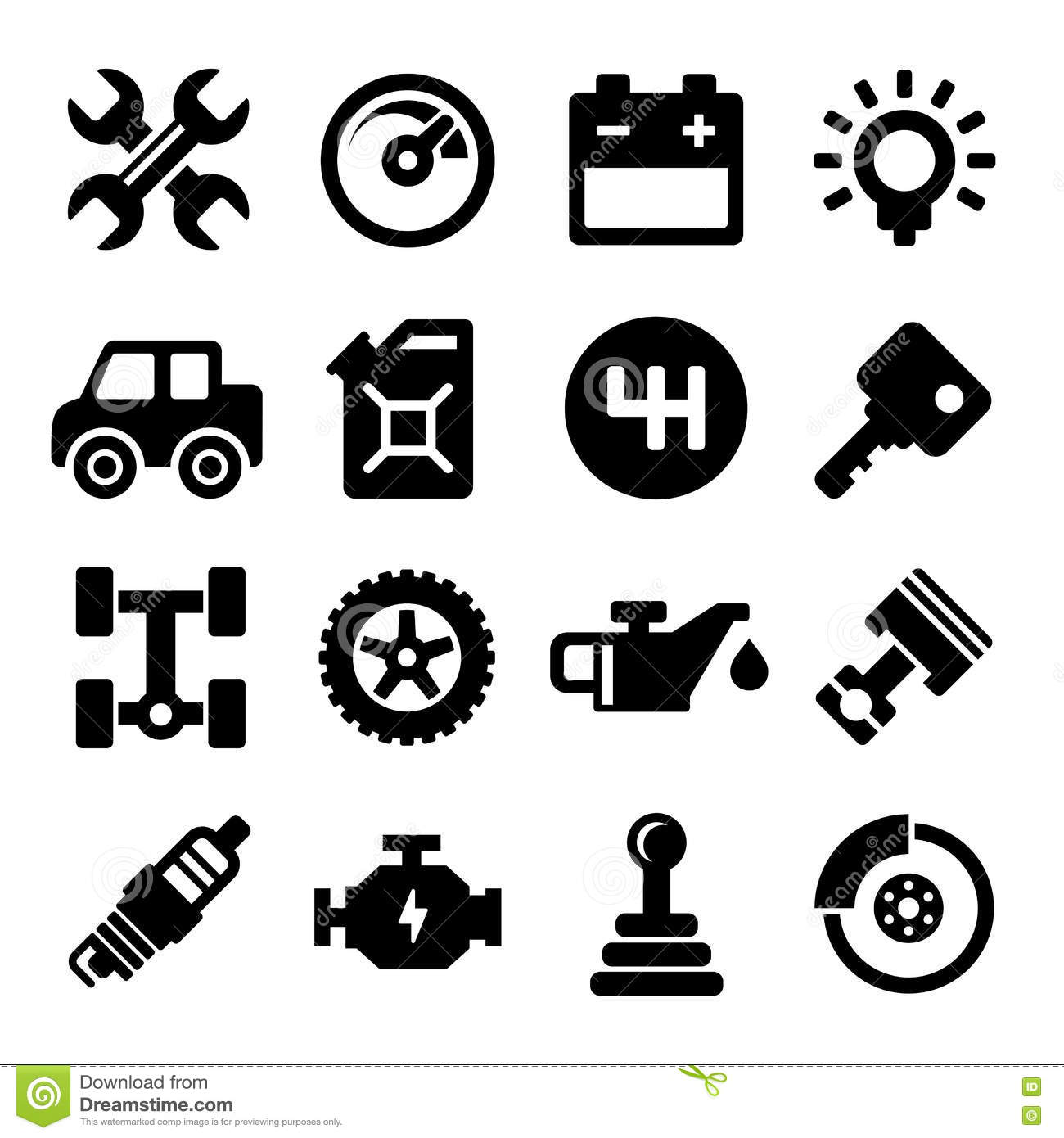 Auto Repair Service Icons Stock Vector Illustration Of