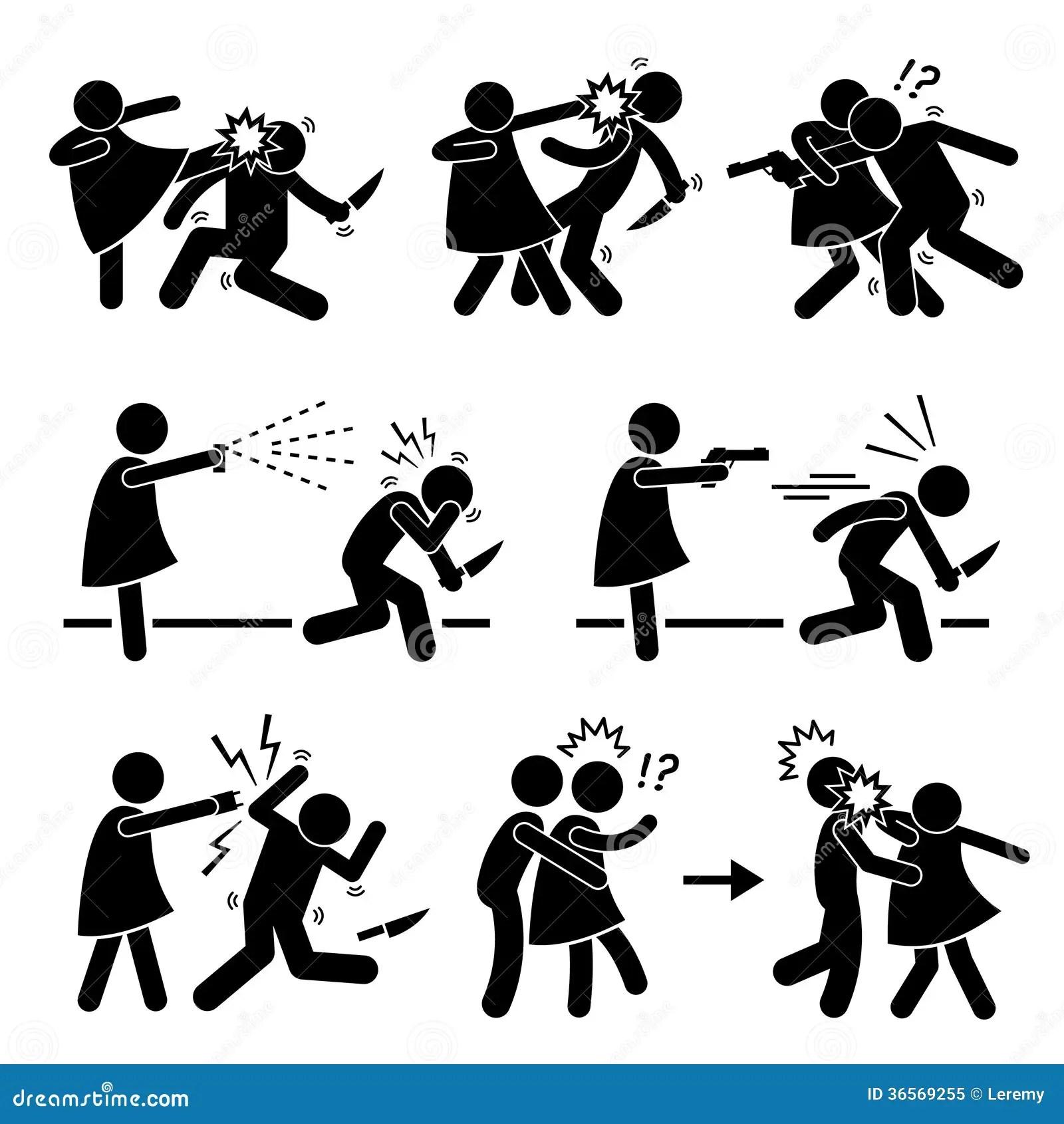 Autodefense Femelle De Fille De Femme Illustration De