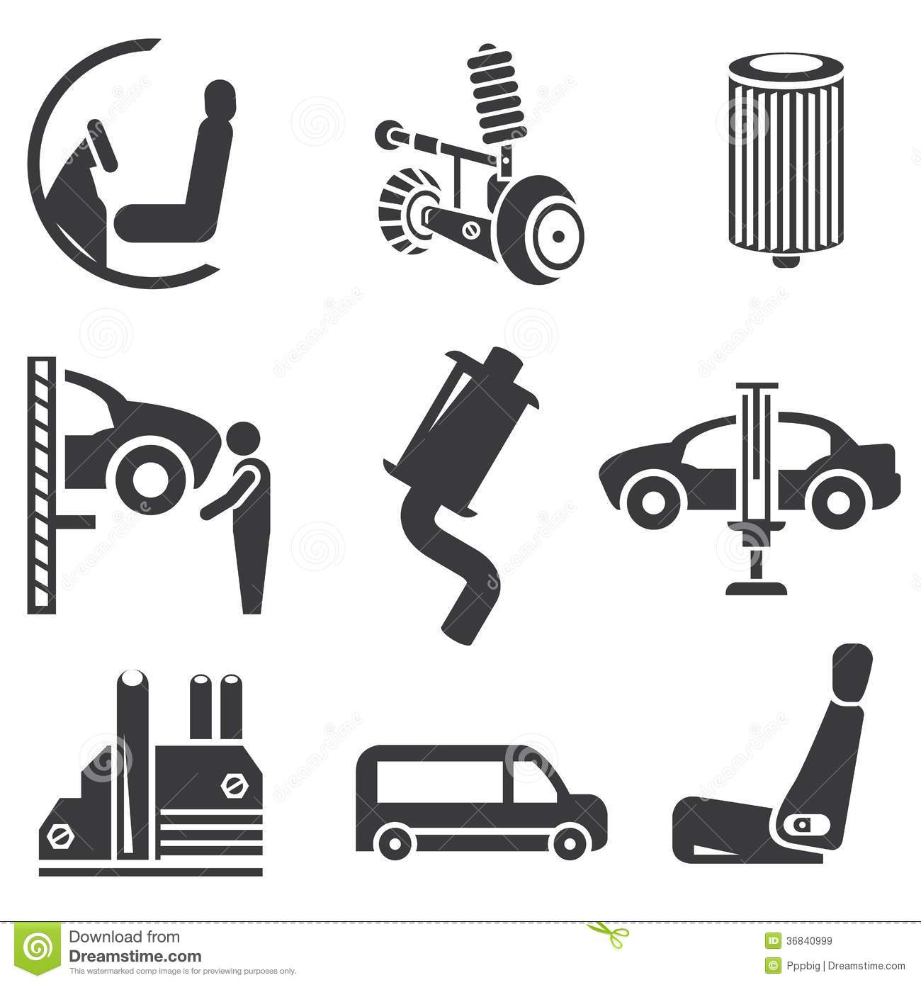 Automobielpictogrammen Stock Illustratie Illustratie