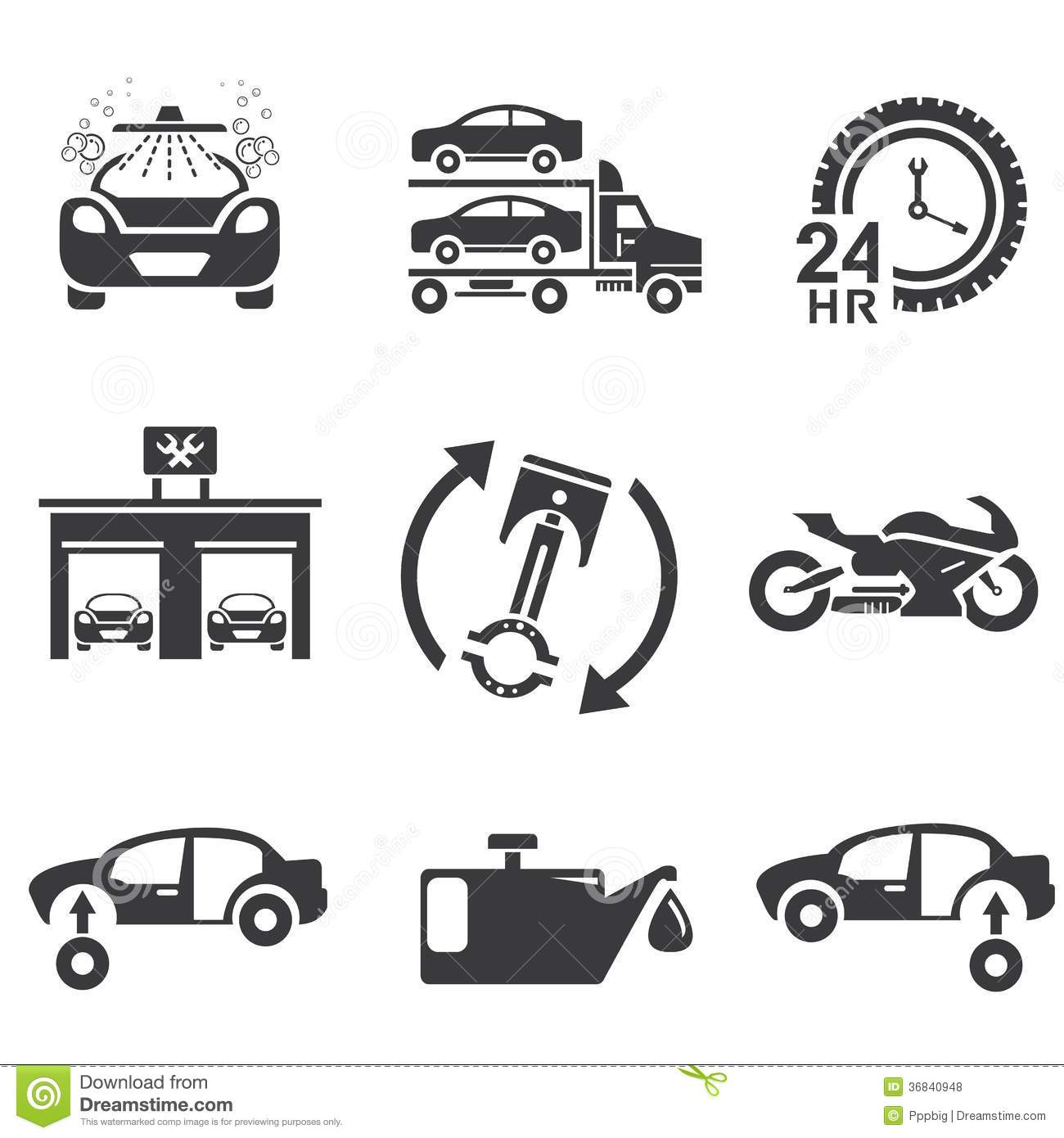 Automotive Icons Stock Illustration Illustration Of