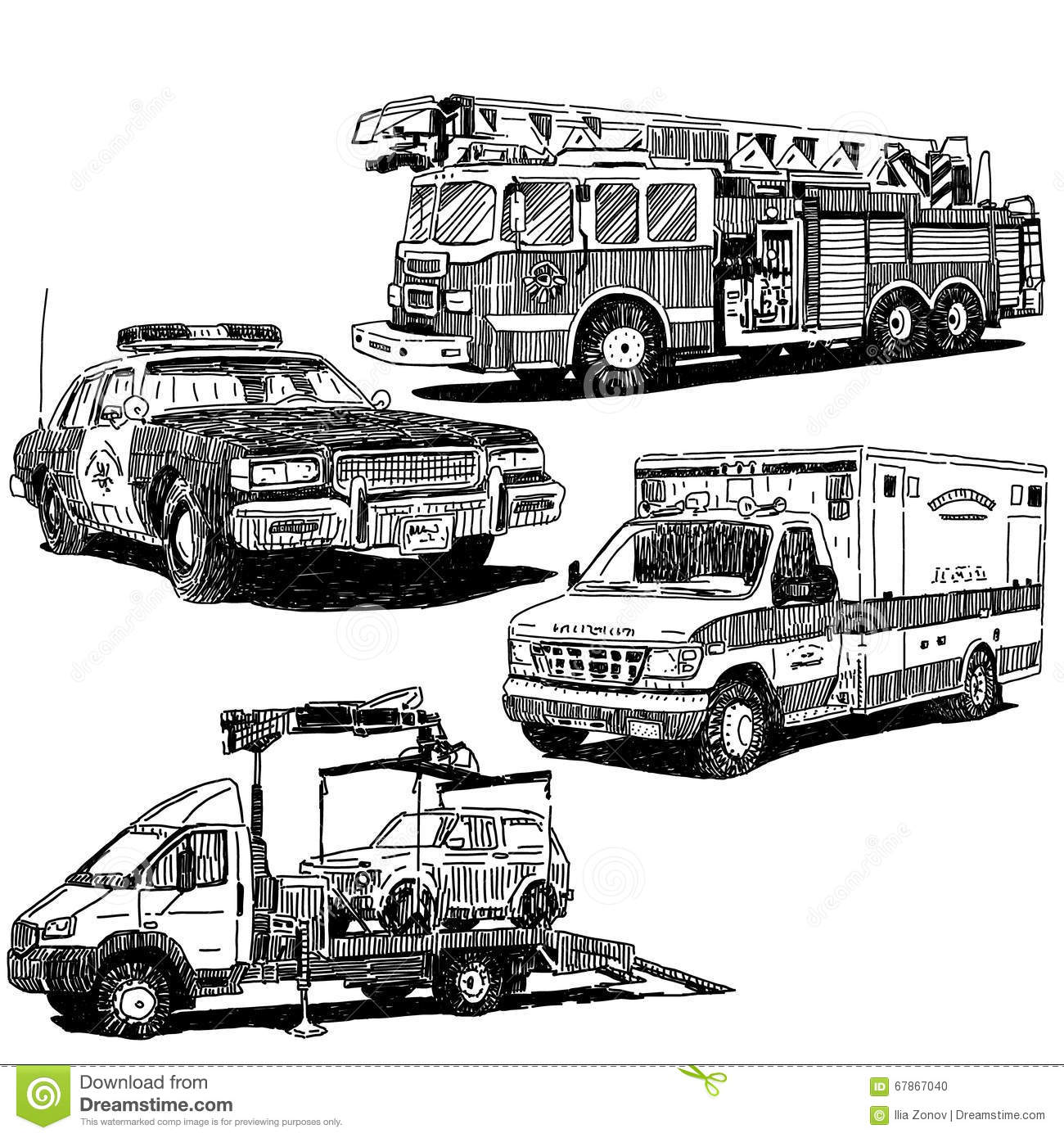 Autos Vector Drawings Set Stock Vector