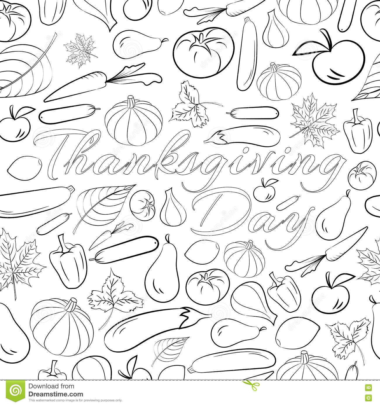 Thanksgiving Black White In Doodle Cartoon Vector