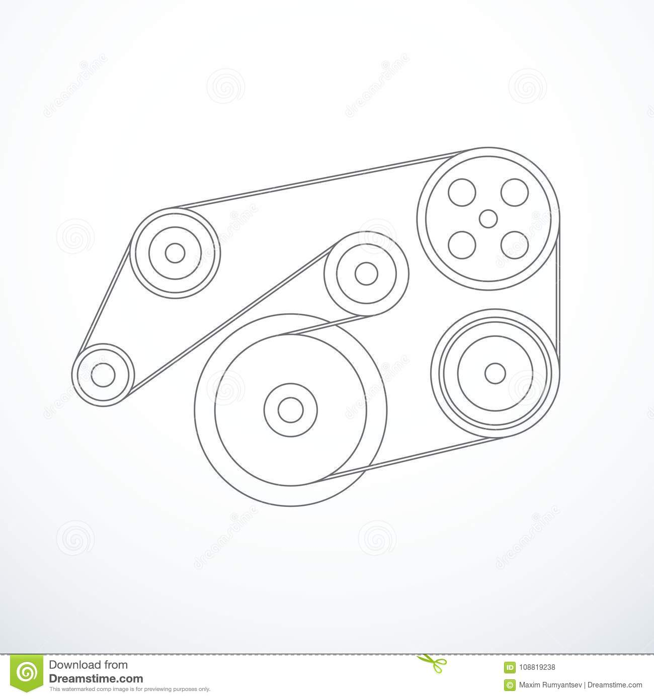 Vector Auxiliary Belt And Pulleys Stock Vector