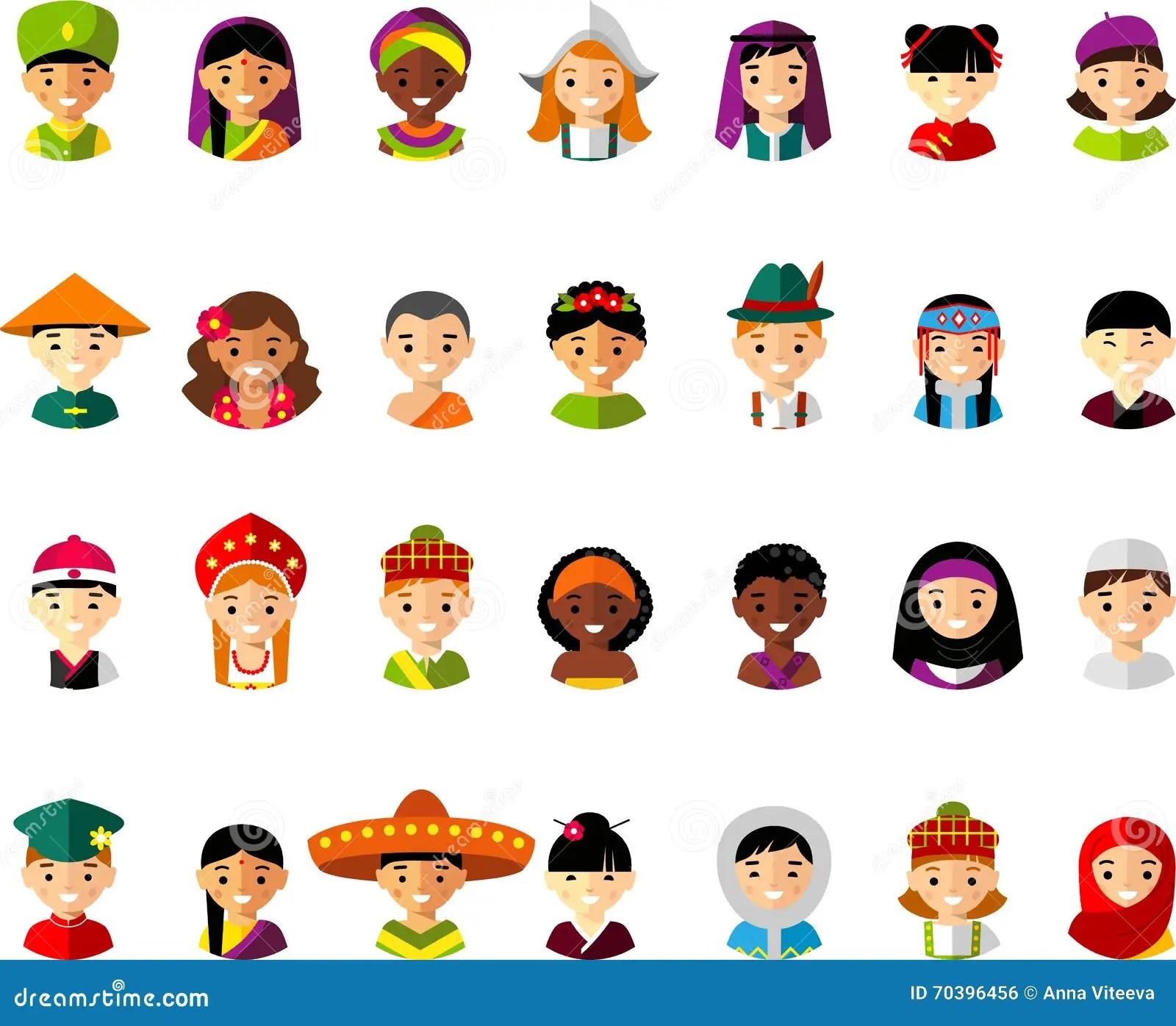 Vector Illustration Of Multicultural National Children
