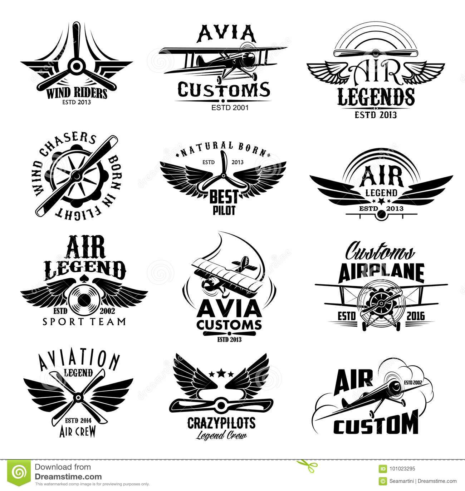 Aviation Retro Airplane Sport Team Vector Icons Stock