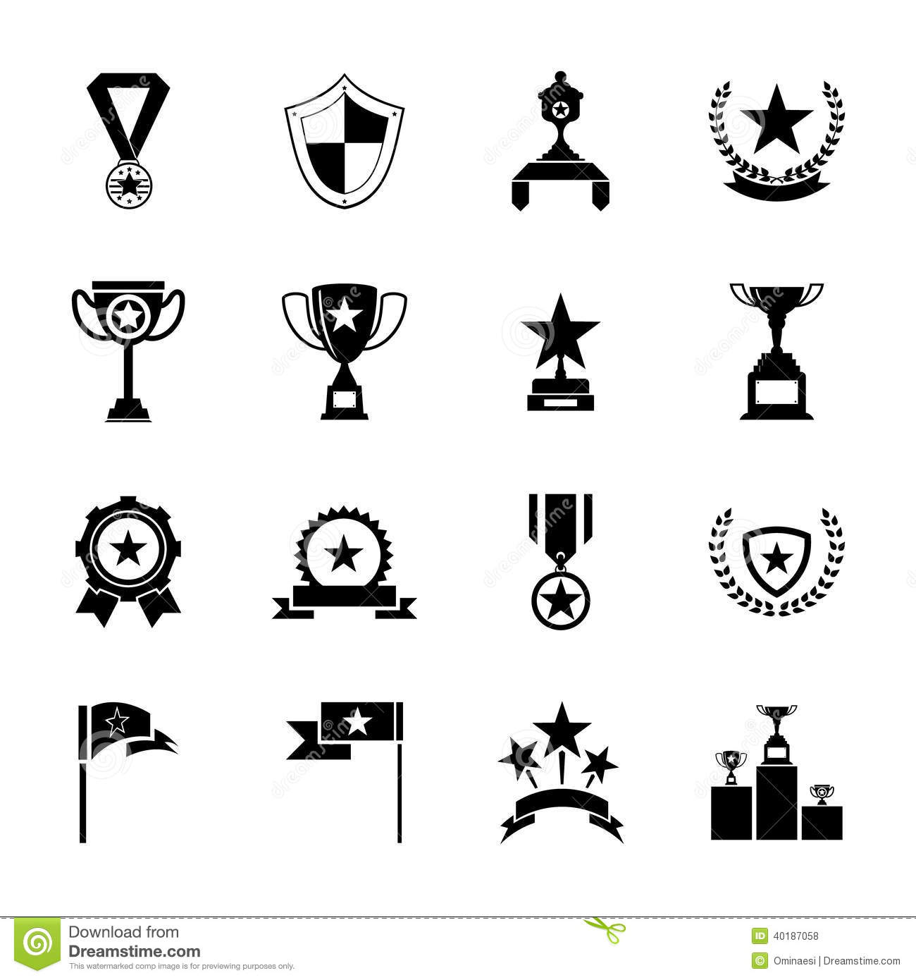 Awards Symbols And Trophy Silhouette Icons Set Isolated