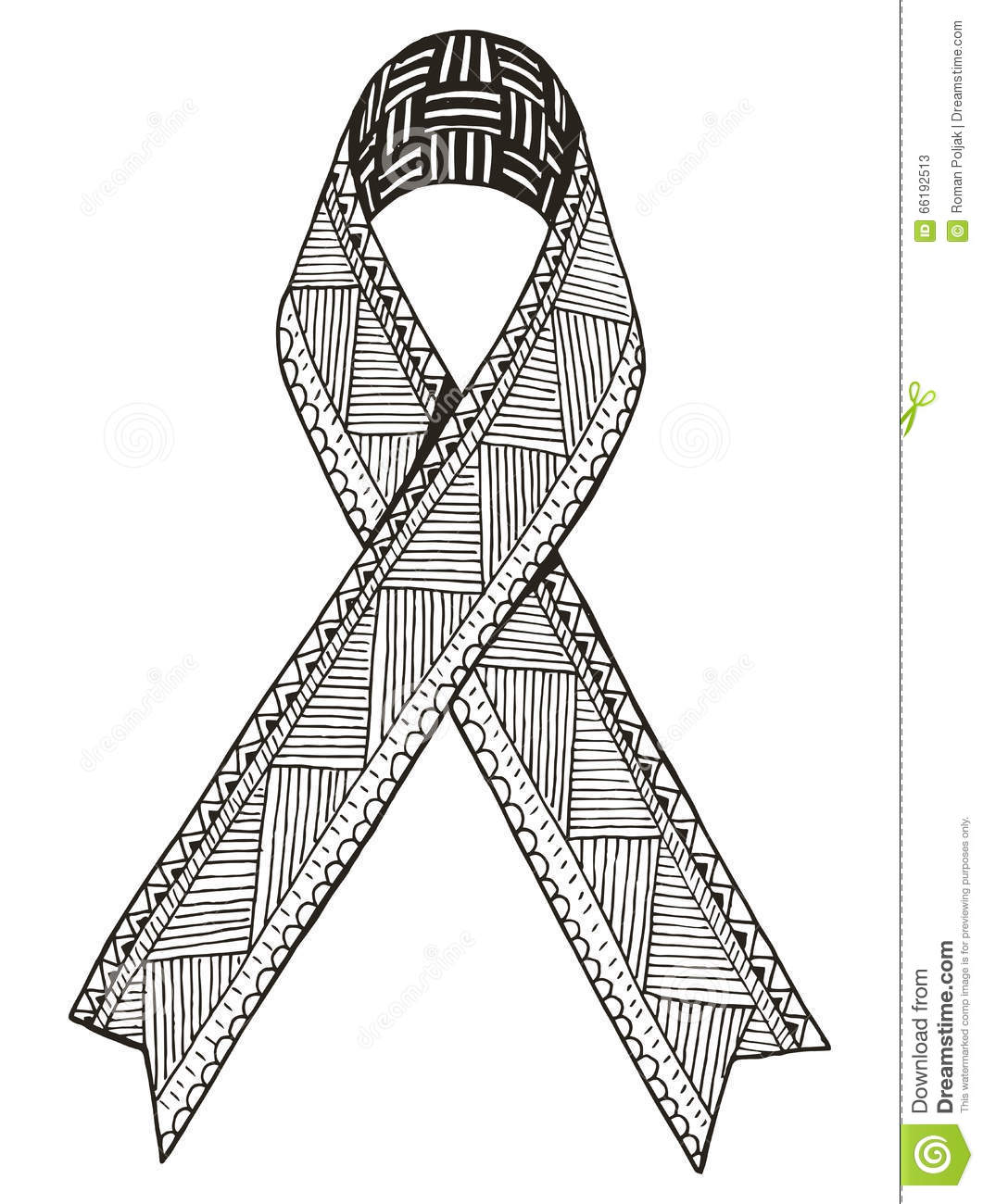 Awareness Ribbon Vector Illustration Zentangle Stylized