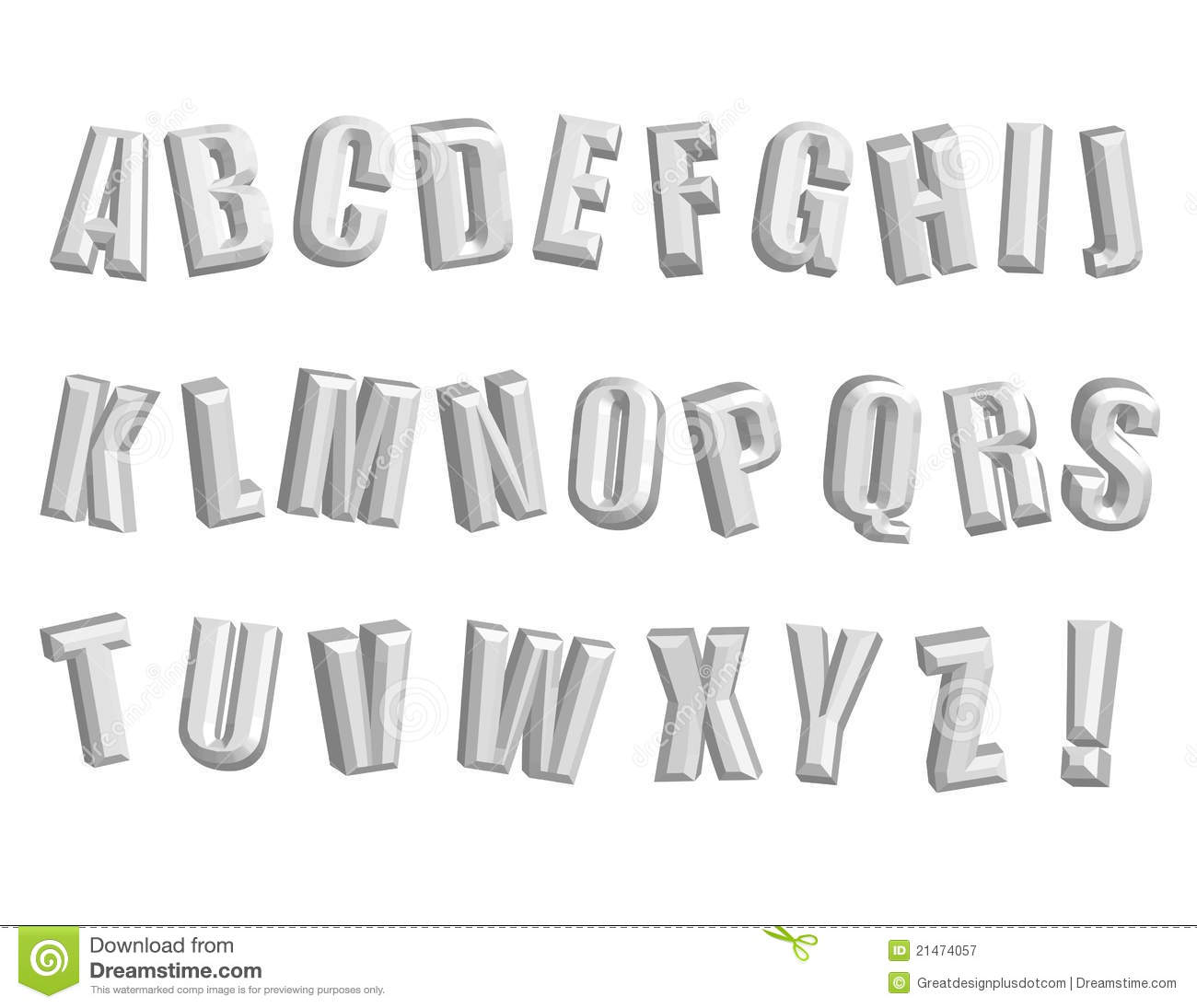 Awesome 3d Alphabet Vector Clip Art Royalty Free Stock