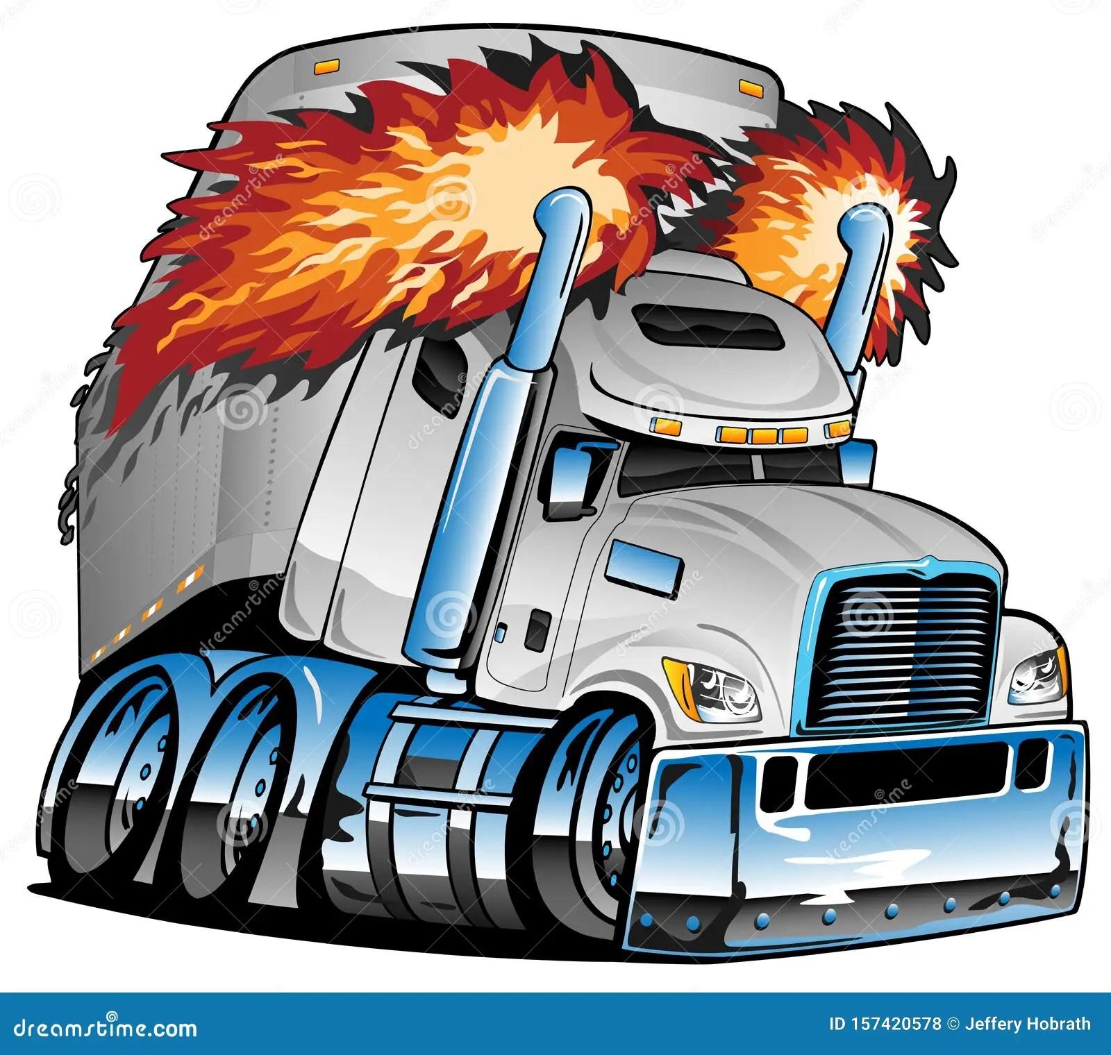 https www dreamstime com awesome big rig diesel tractor trailer cartoon illustration semi truck flames shooting huge smoke stacks tires rims image157420578