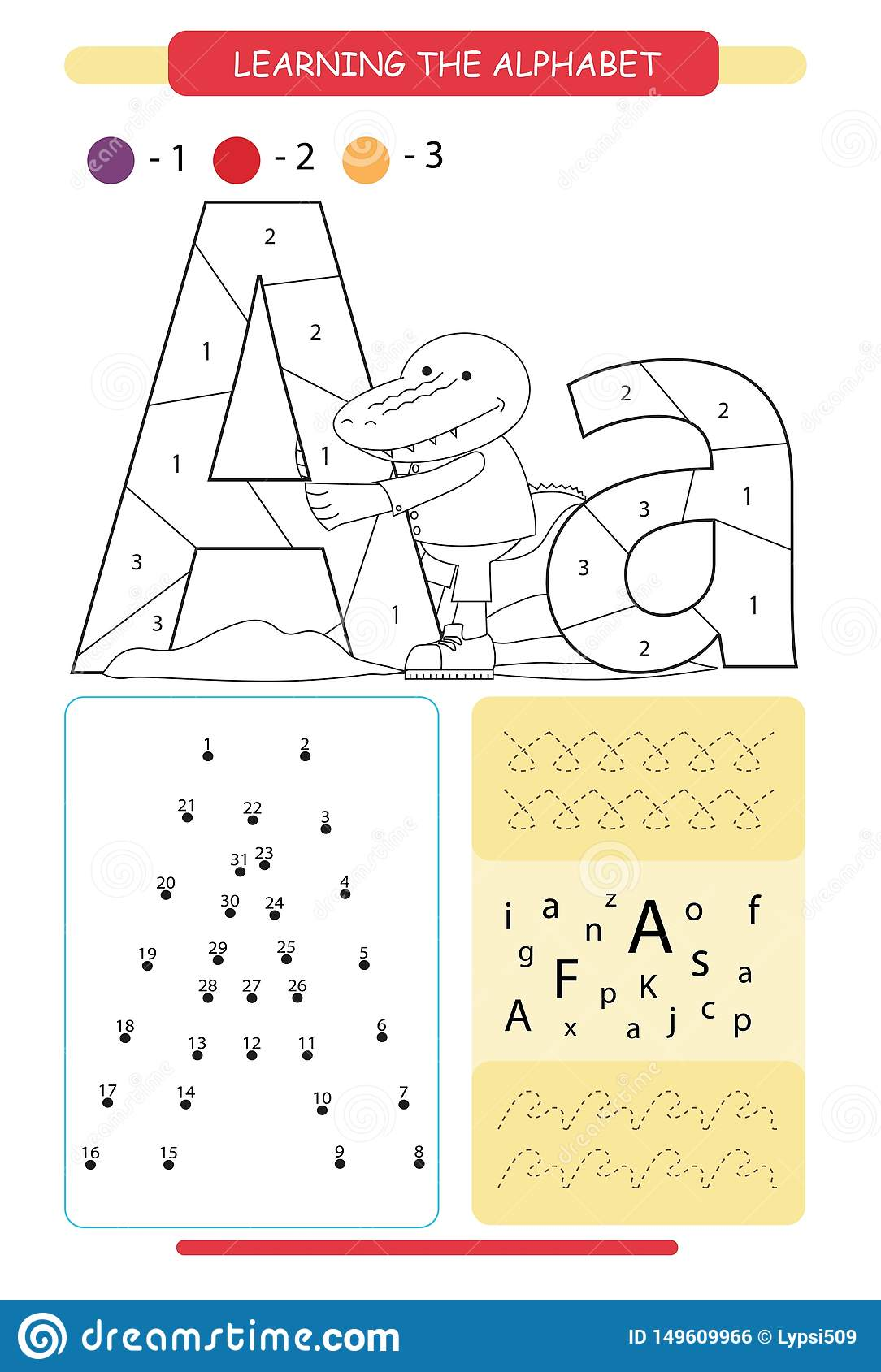 Letter A And Funny Cartoon Alligator Animals Alphabet A Z