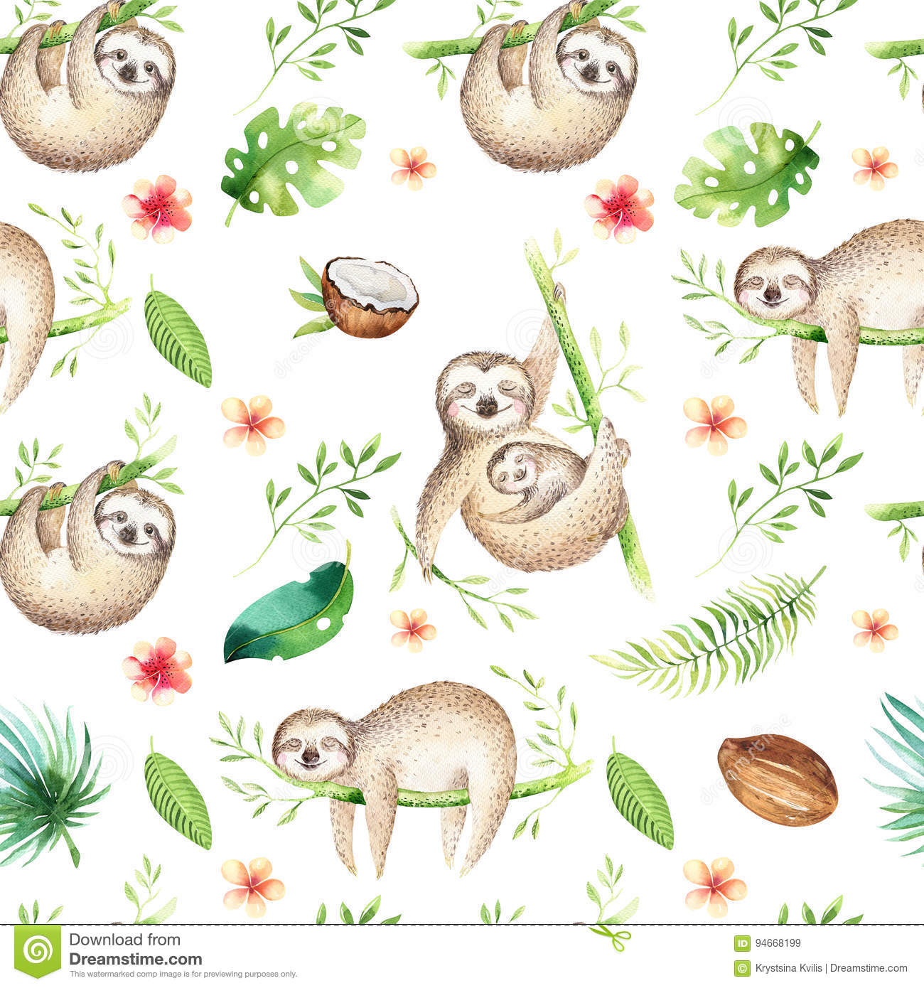 Baby Animals Sloth Nursery Seamless Pattern Painting Watercolor Boho Tropical Drawing Child