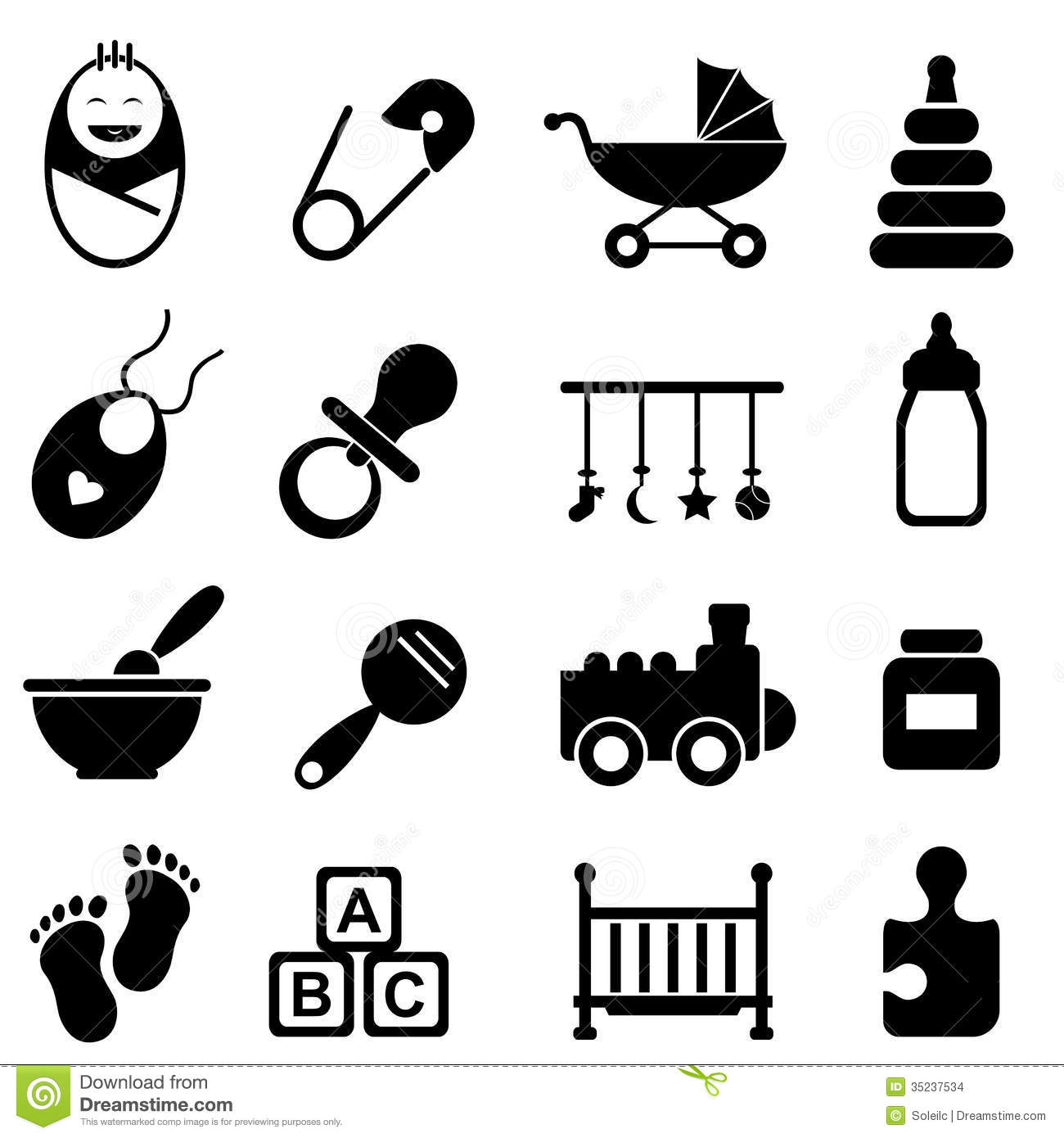Baby And Birth Icons Stock Vector Illustration Of Face